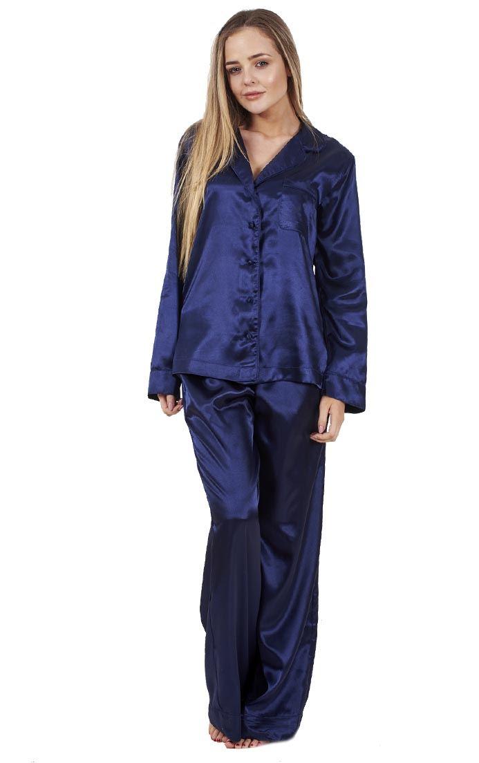 b49159957b Details about Ladies Glamorous Satin Pyjamas Long Sleeve Nightwear Silk  PJ S Nightwear