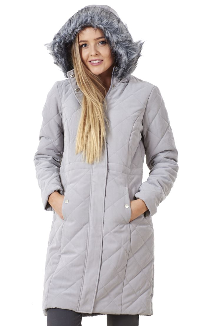 e7379a81c28 Sentinel Ladies Winter Quilted Parka Warm Jacket Outerwear Fur Hooded Coat