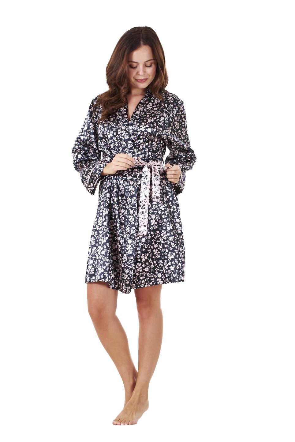 Sentinel Ladies Quality Satin Wrap Kimono Black Floral Print Womens Dressing  Gown 511683e25443