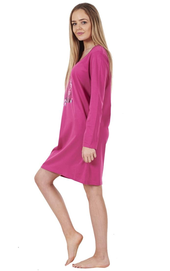 Sentinel Ladies Printed Cotton Nightdress Womens Long Sleeve Cami Nightie 1b0a29578