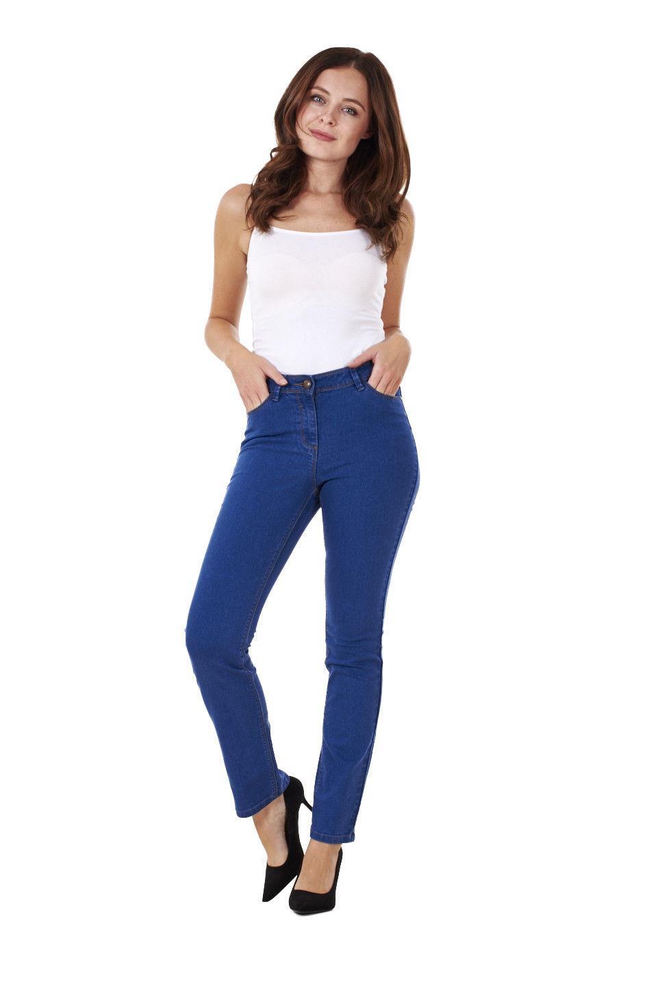Ladies-Straight-Leg-Denim-Womens-Pants-Stretch-Regular-Fit-Jeans thumbnail 13