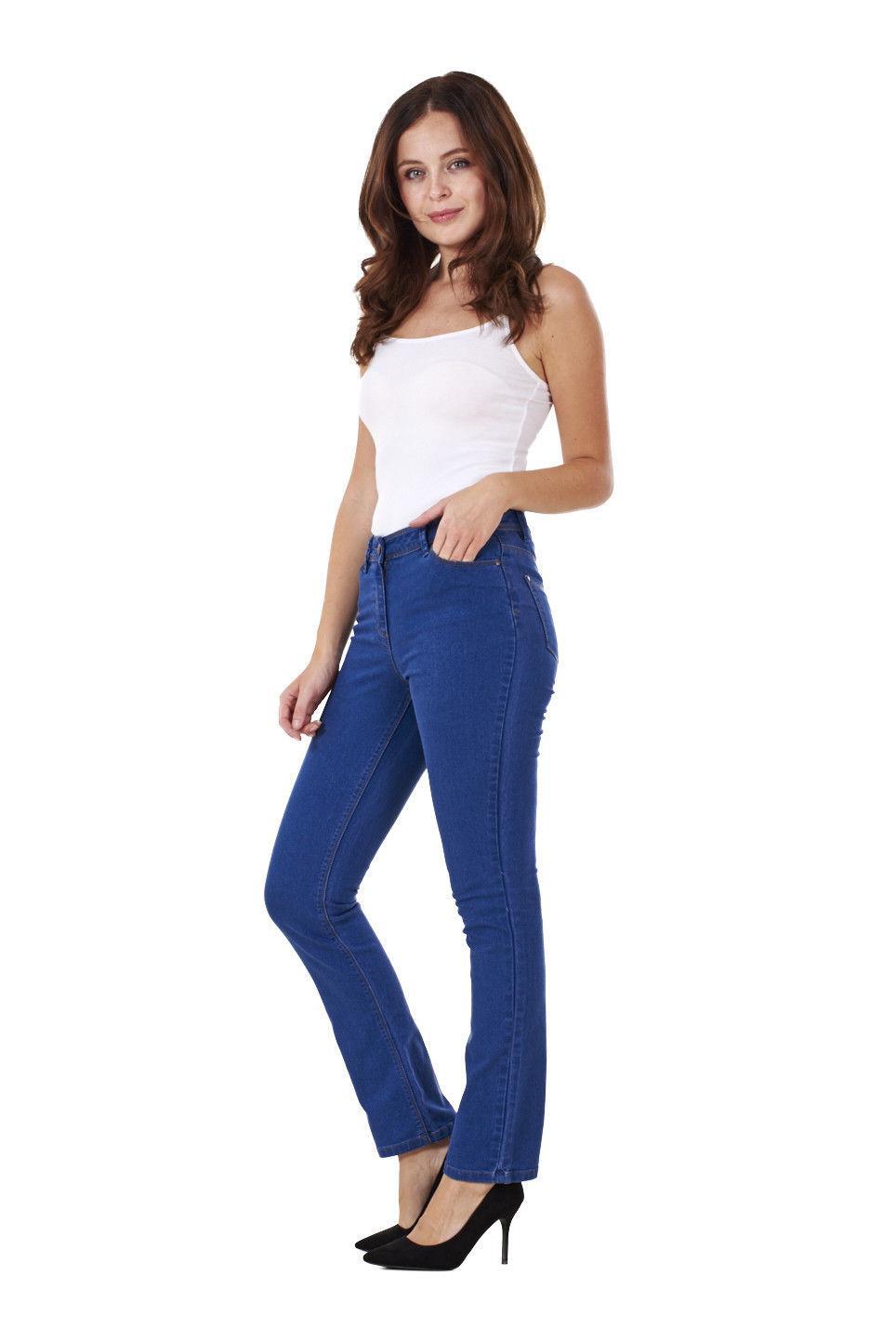 Ladies-Straight-Leg-Denim-Womens-Pants-Stretch-Regular-Fit-Jeans thumbnail 14