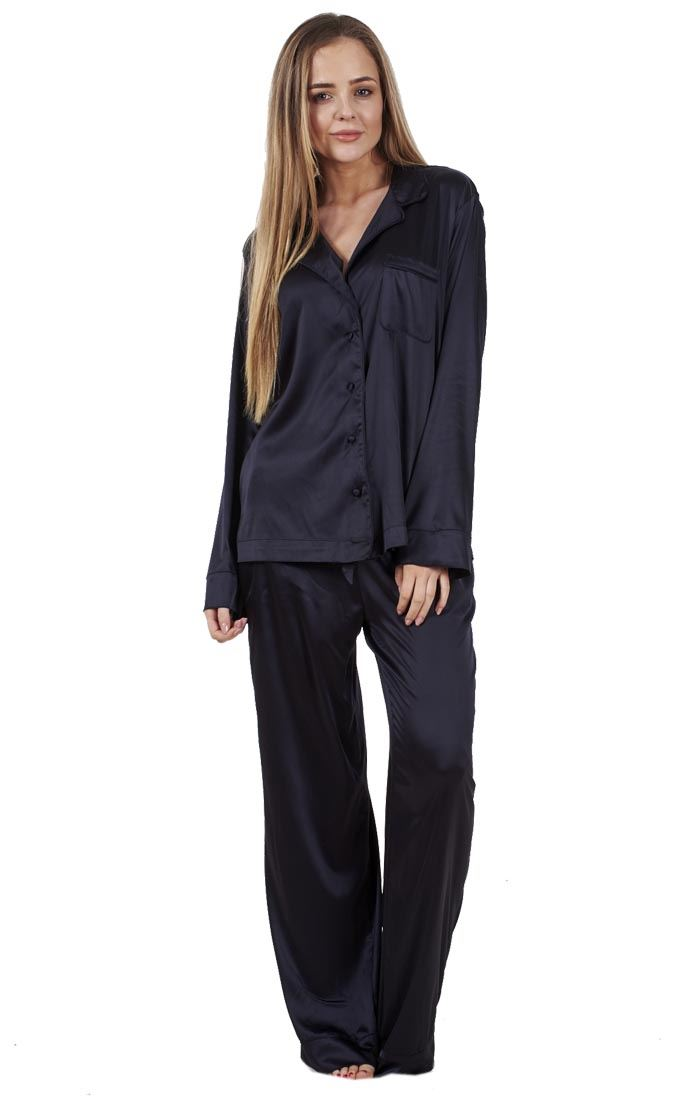 510312b98f Sentinel Ladies Glamorous Satin Pyjamas Long Sleeve Nightwear Silk PJ S  Nightwear