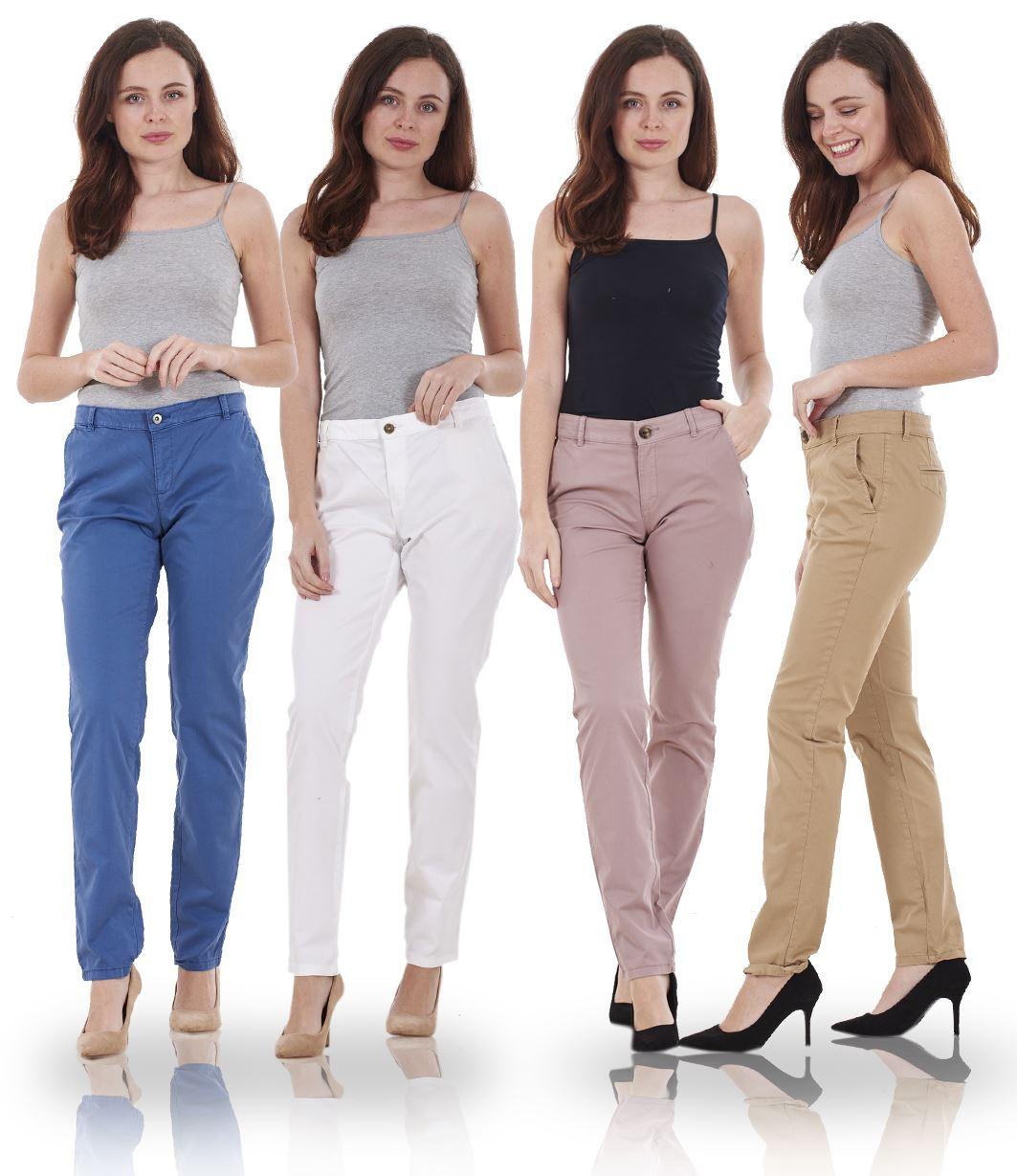 2e724114c0079 Image is loading Ladies-Slim-Leg-Womens-Chino-Cotton-Pants-Stretch-