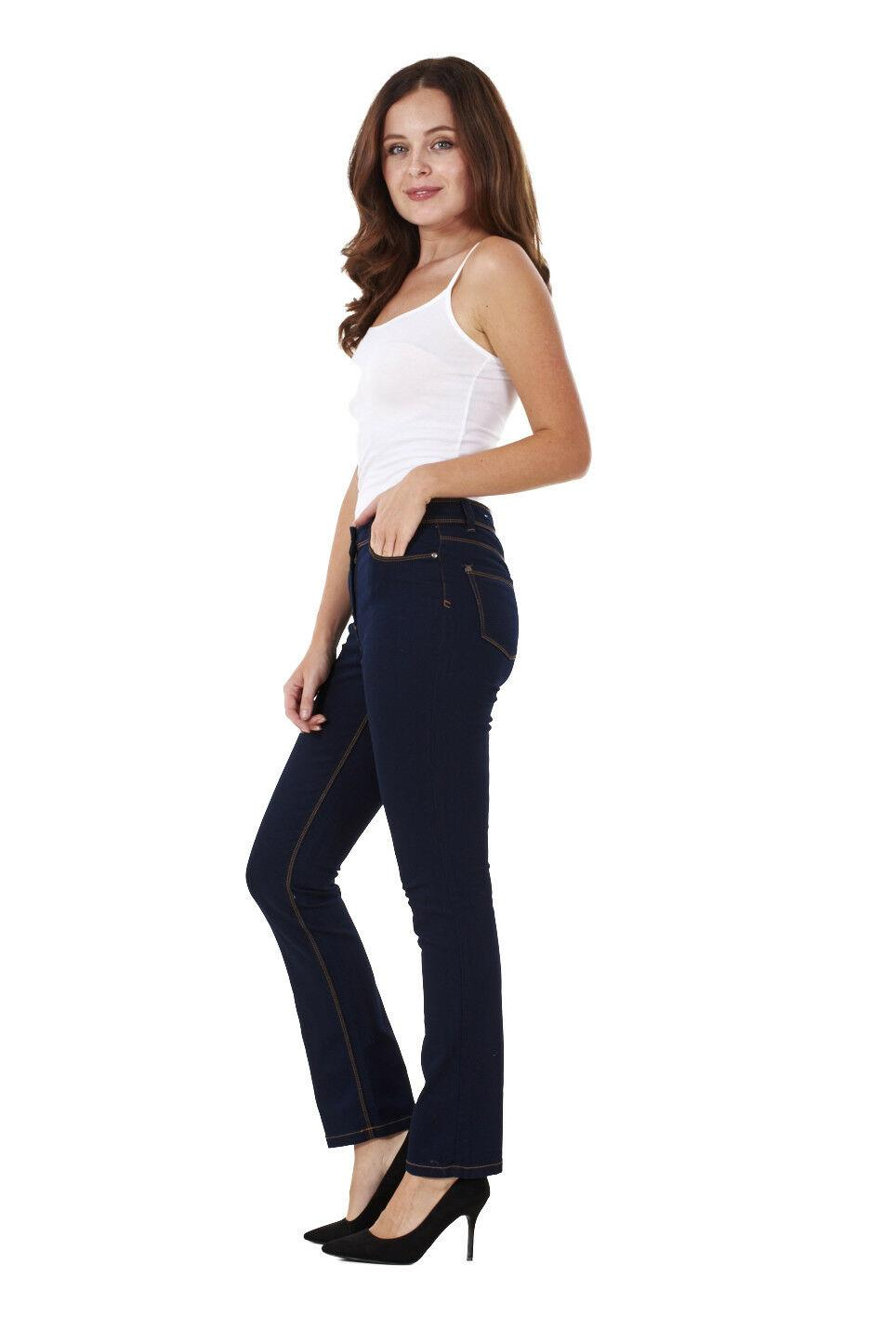 Ladies-Straight-Leg-Denim-Womens-Pants-Stretch-Regular-Fit-Jeans thumbnail 20