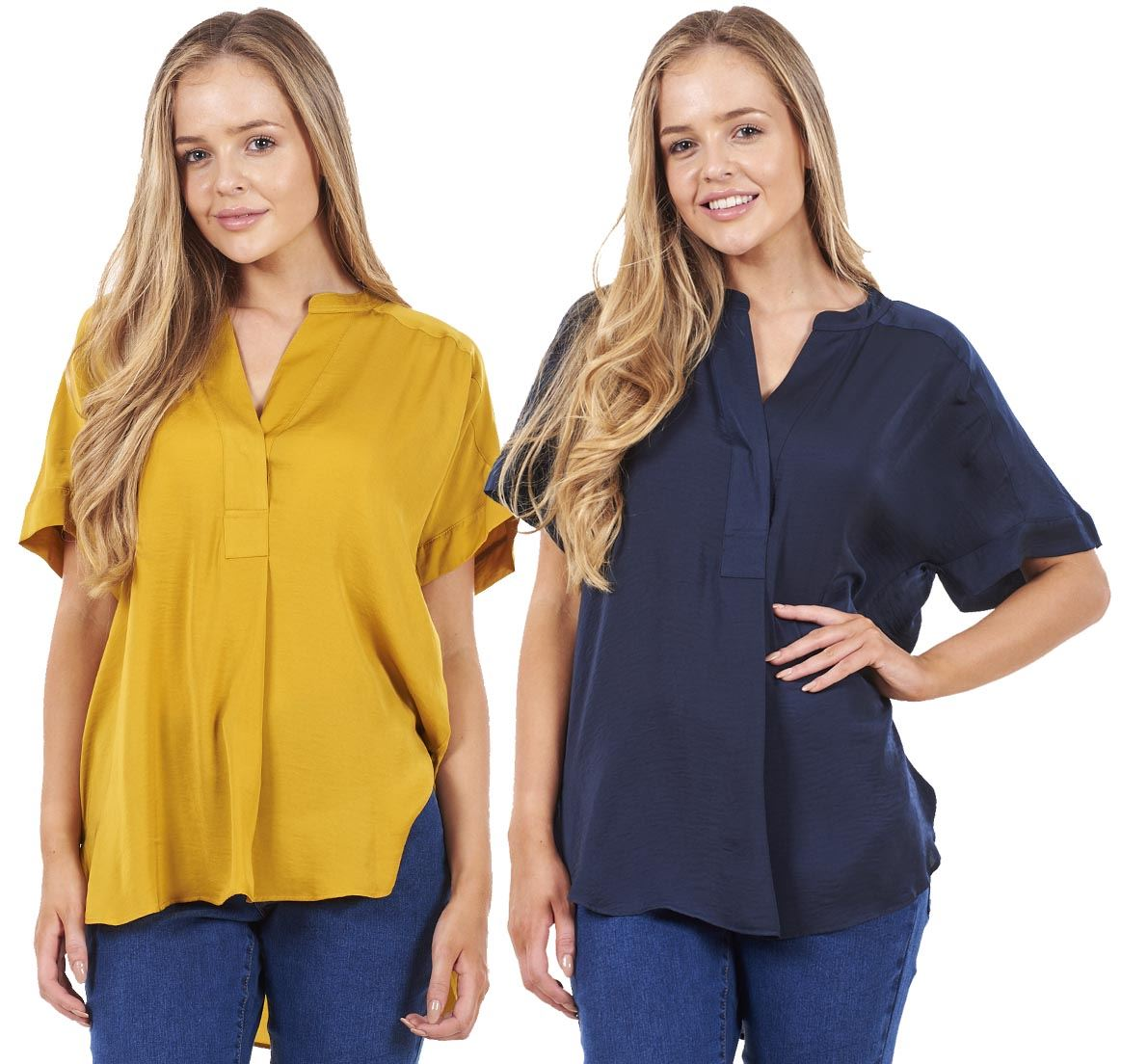 58cd39a5f30c Sentinel Ladies Popover Notch Casual Top Plain Short Sleeve Blouse