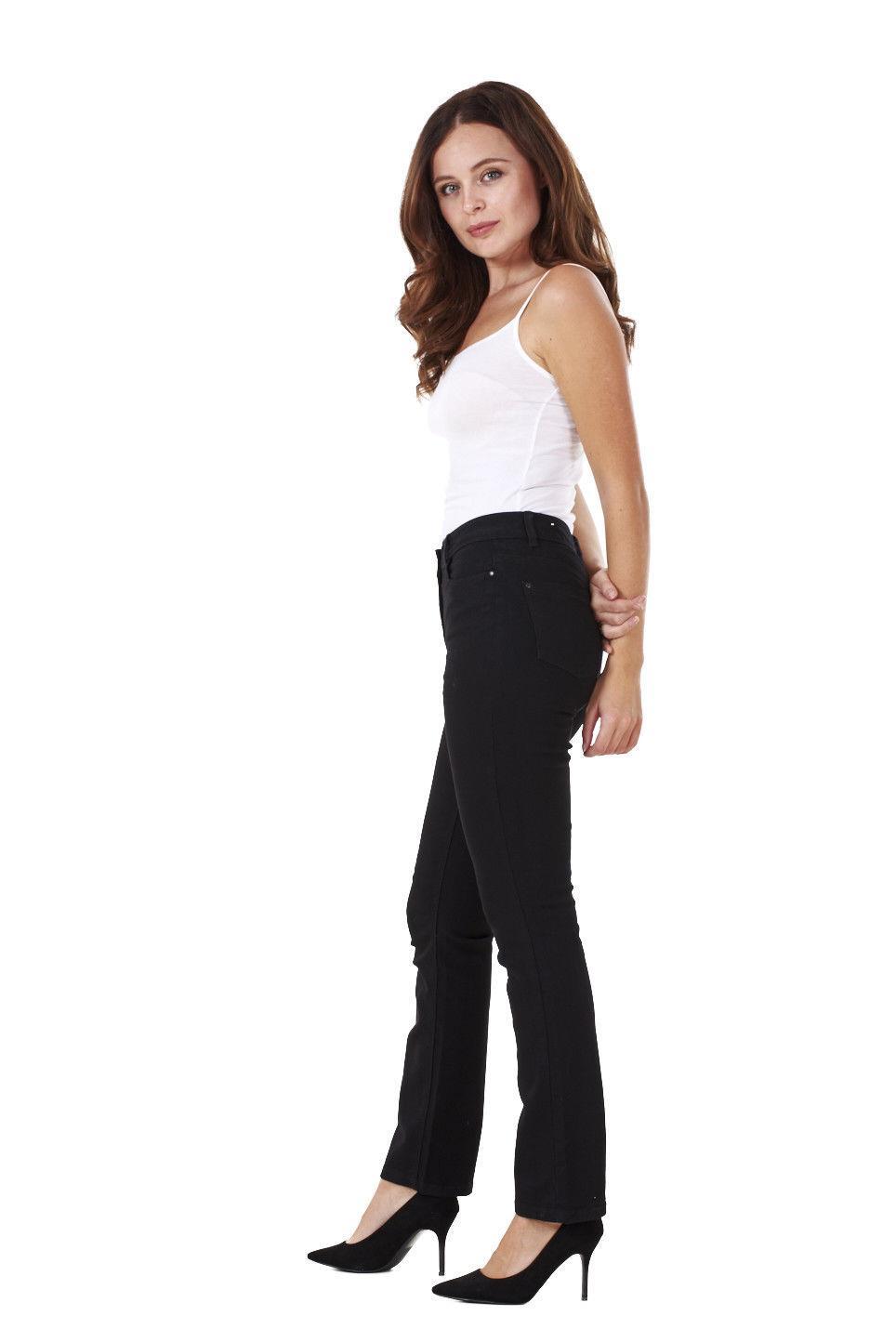 Ladies-Straight-Leg-Denim-Womens-Pants-Stretch-Regular-Fit-Jeans thumbnail 9