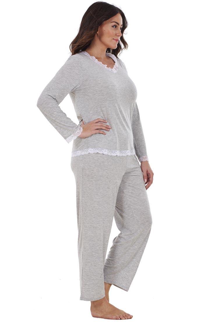 Ladies-Plus-Size-Long-Sleeve-Lace-Curve-PJ-Set-Pyjamas-Nightwear