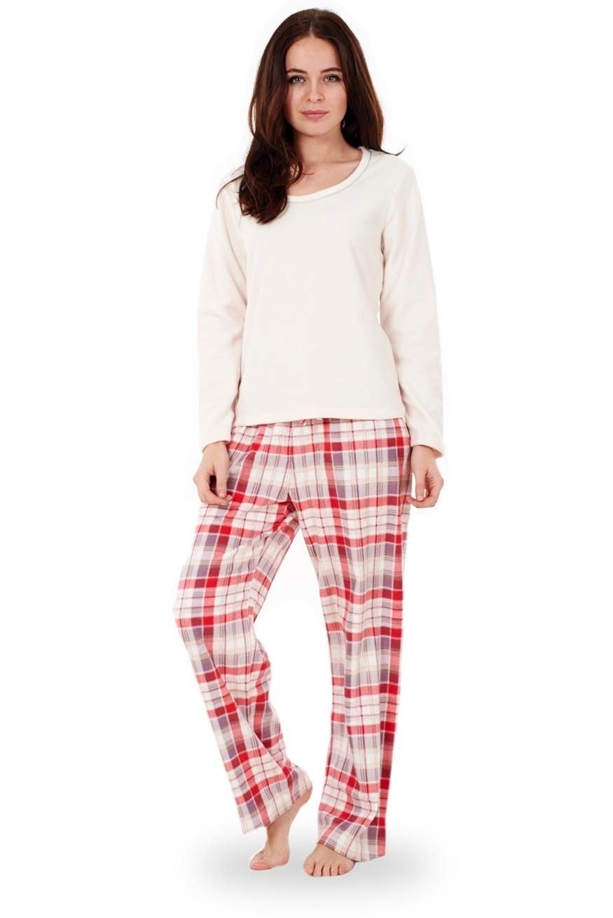 5dfe8d413d Sentinel Ladies Super Soft Fleece Pyjama Set Plain Womens PJ S Winter Warm  Nightwear