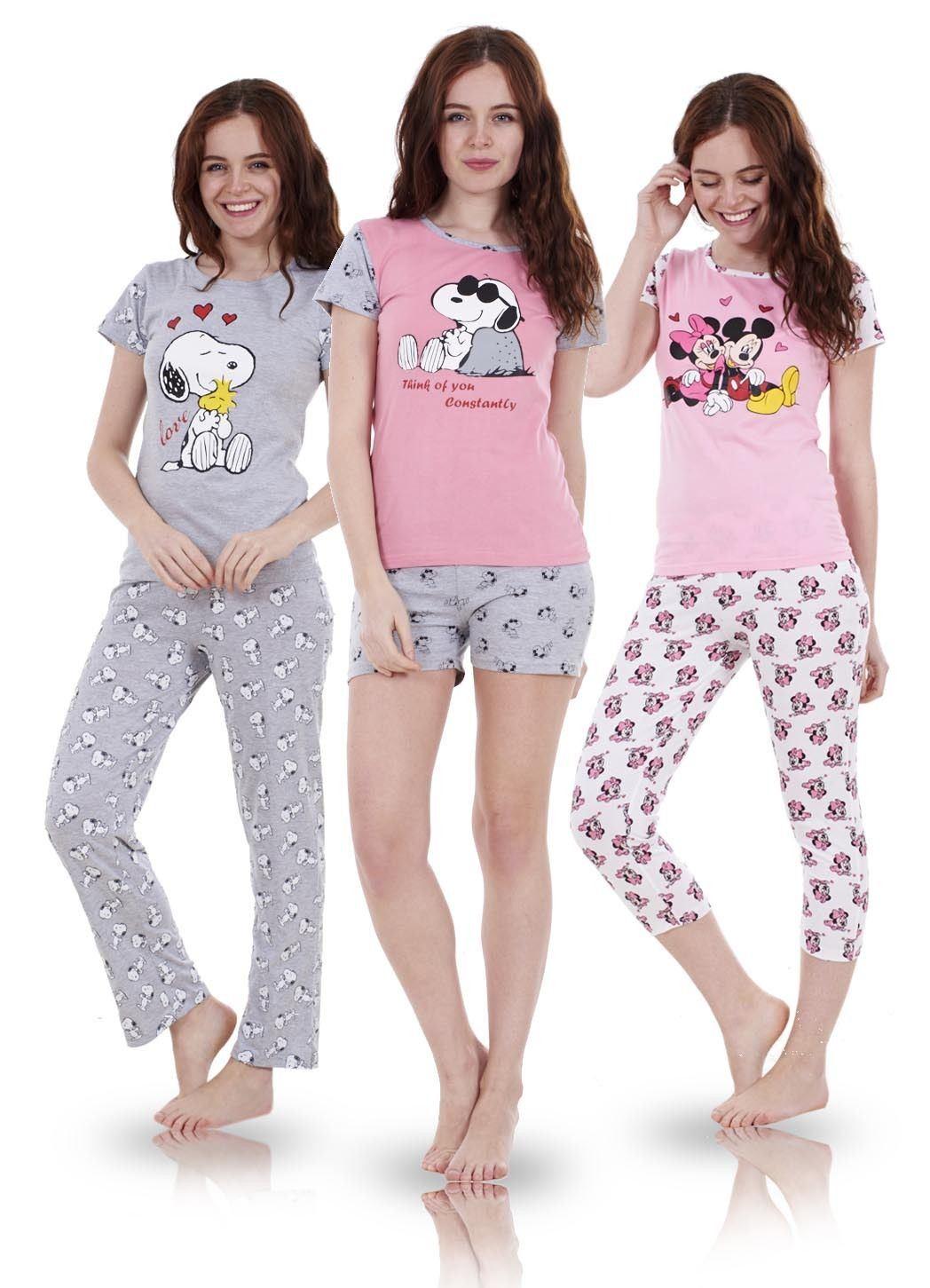 Ladies Cute 2 Piece Snoopy Pyjamas Short Sleeve Mickie