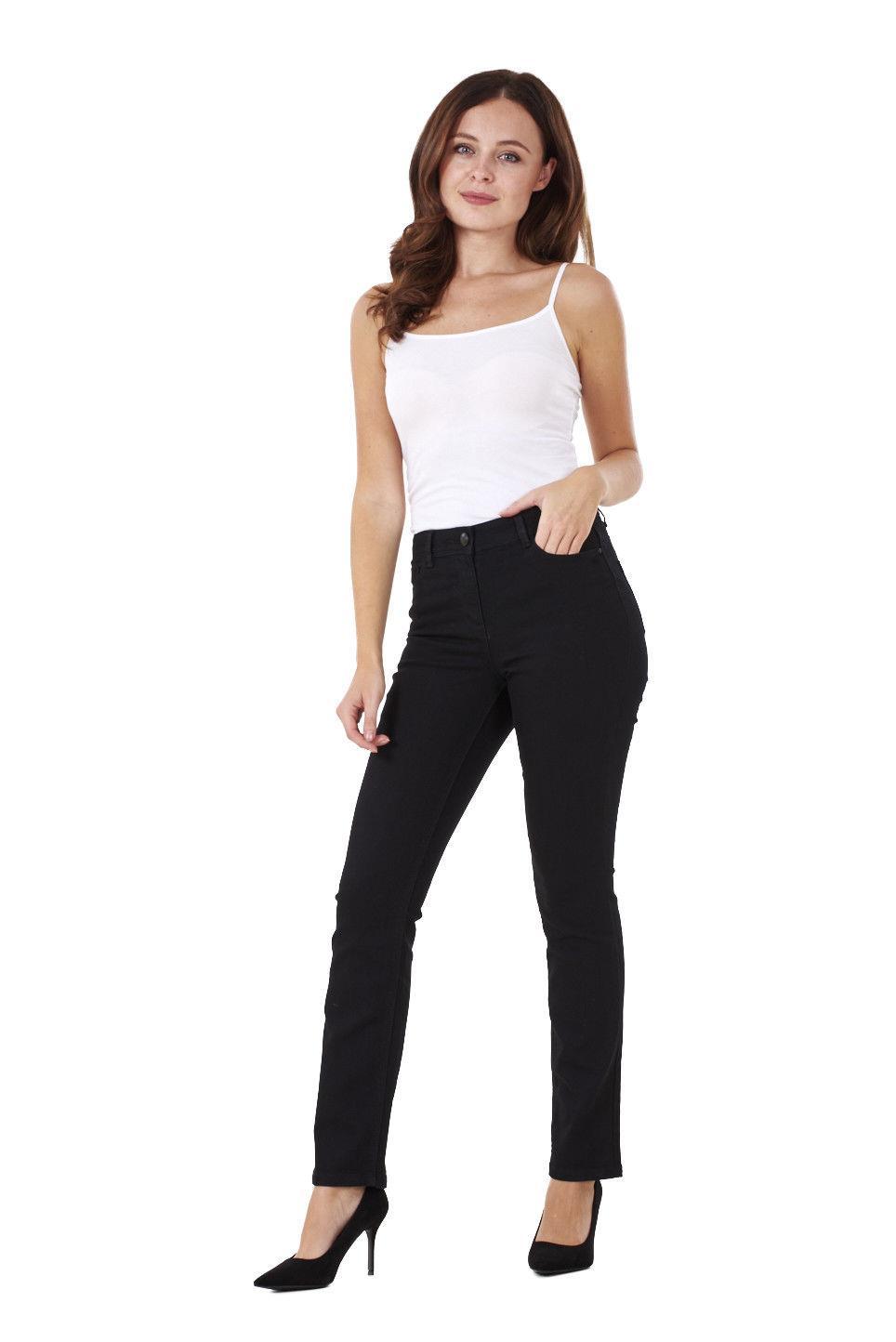 Ladies-Straight-Leg-Denim-Womens-Pants-Stretch-Regular-Fit-Jeans thumbnail 8