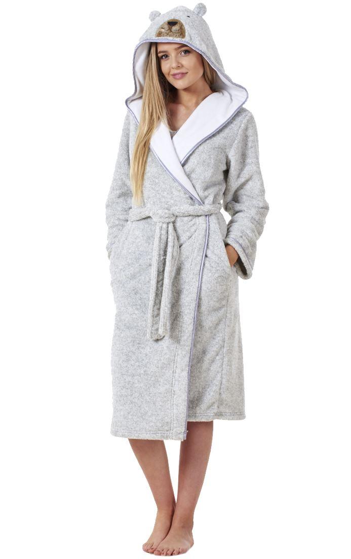 Ladies Cute Bear Plush Soft Pockets Luxury Fluffy Wrap Winter Warm ...