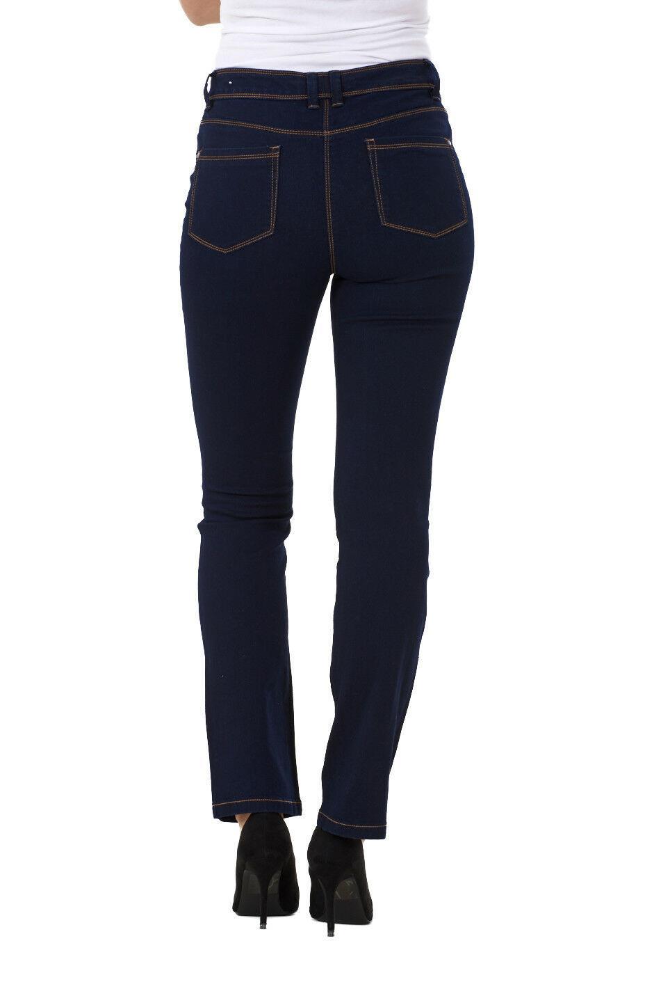 Ladies-Straight-Leg-Denim-Womens-Pants-Stretch-Regular-Fit-Jeans thumbnail 18