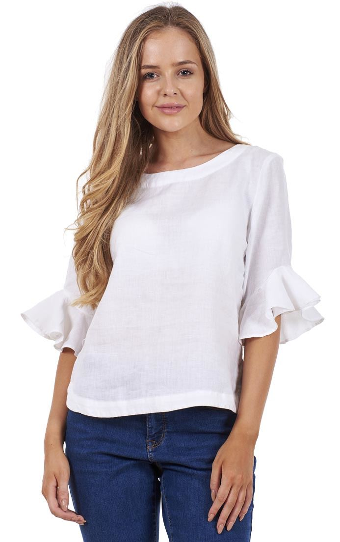 95b00e5520d Details about Ladies White Ruffle Sleeve Casual Top Plain Short Sleeve Pure  Linen Blouse