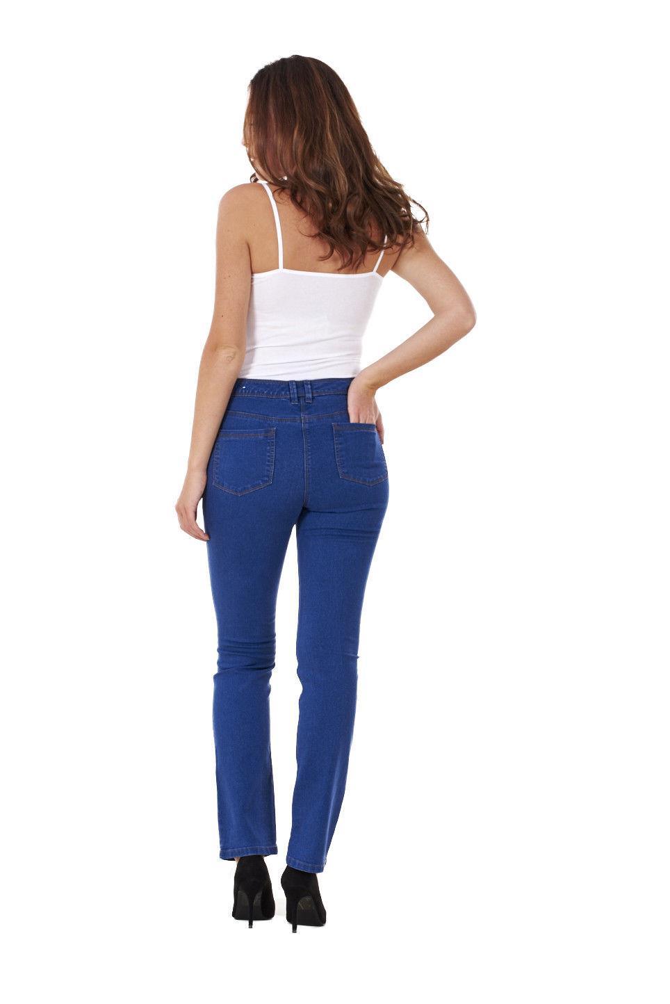 Ladies-Straight-Leg-Denim-Womens-Pants-Stretch-Regular-Fit-Jeans thumbnail 15