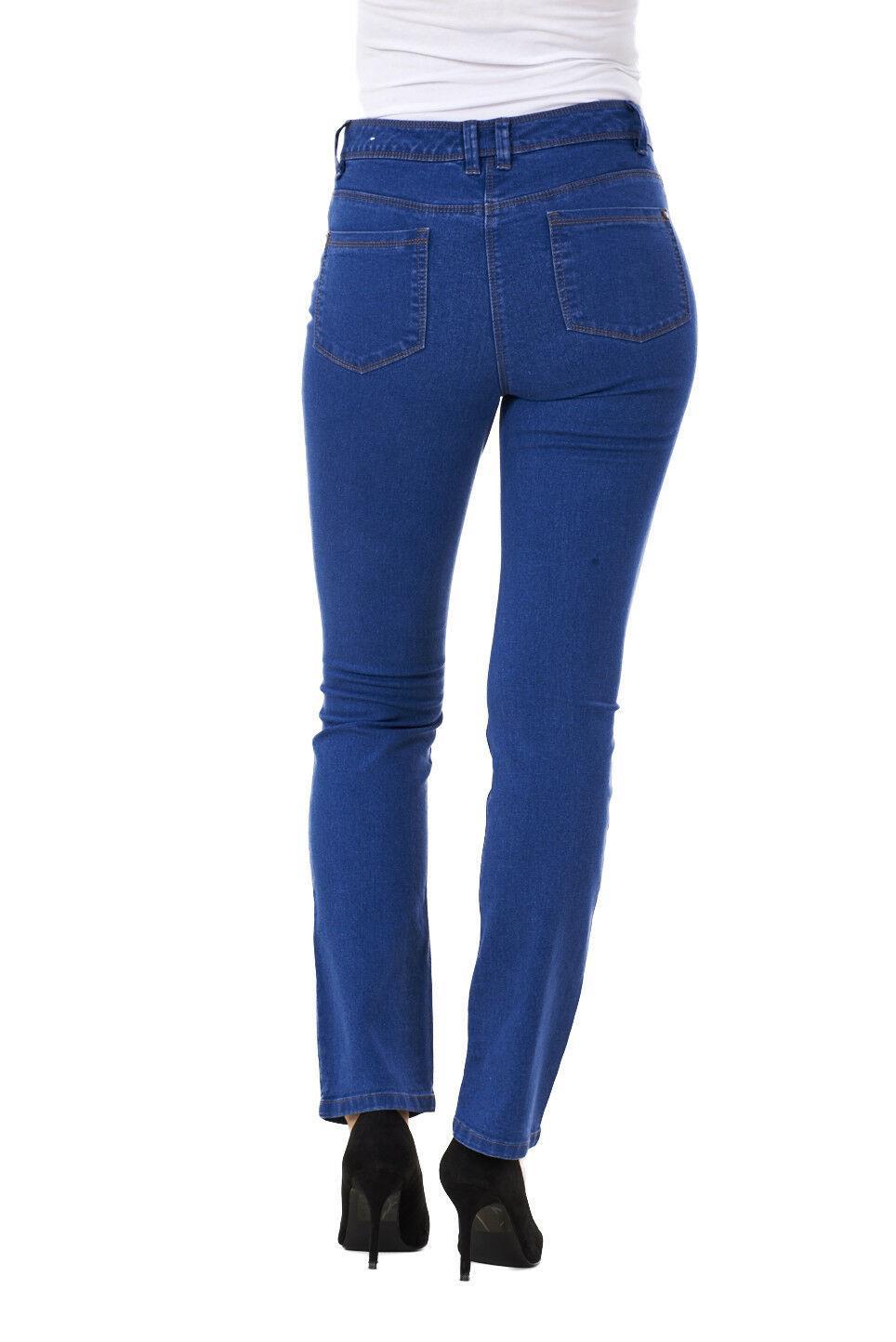 Ladies-Straight-Leg-Denim-Womens-Pants-Stretch-Regular-Fit-Jeans thumbnail 12