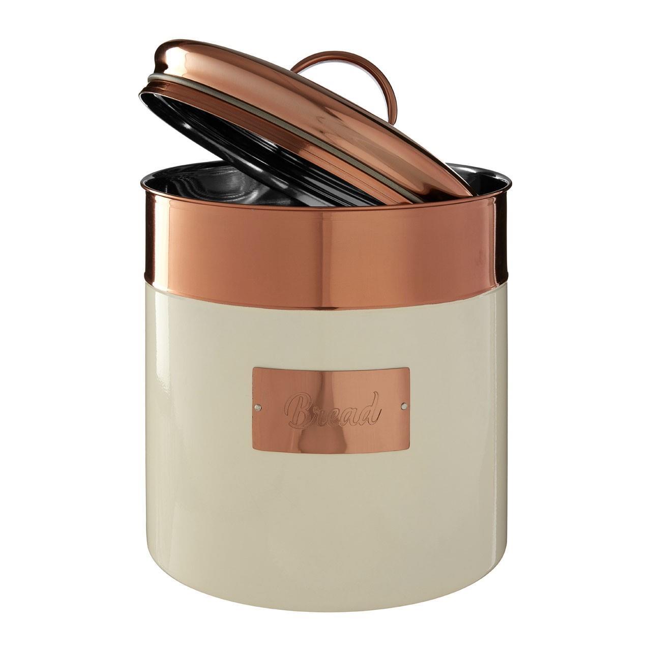 Prescott-Cream-Copper-Bread-Bin-Biscuit-Sugar-Coffee-Canister-Utensil-Holder thumbnail 7