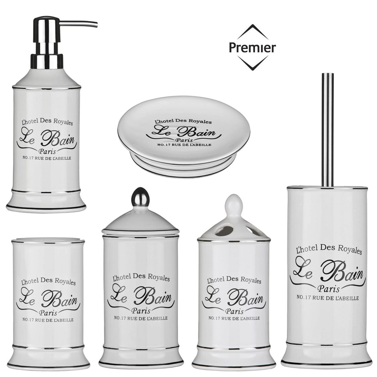 6 Piece Le Bain Shabby Chic Ceramic White Bathroom Accessories ...