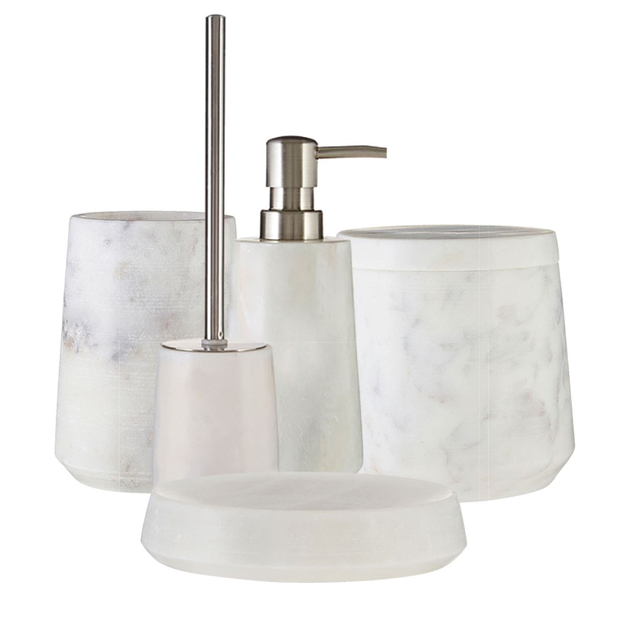 Salle De Bain En Espagnol Traduction ~ 5 piece off white marble soap dish tumbler cotton jar bathroom