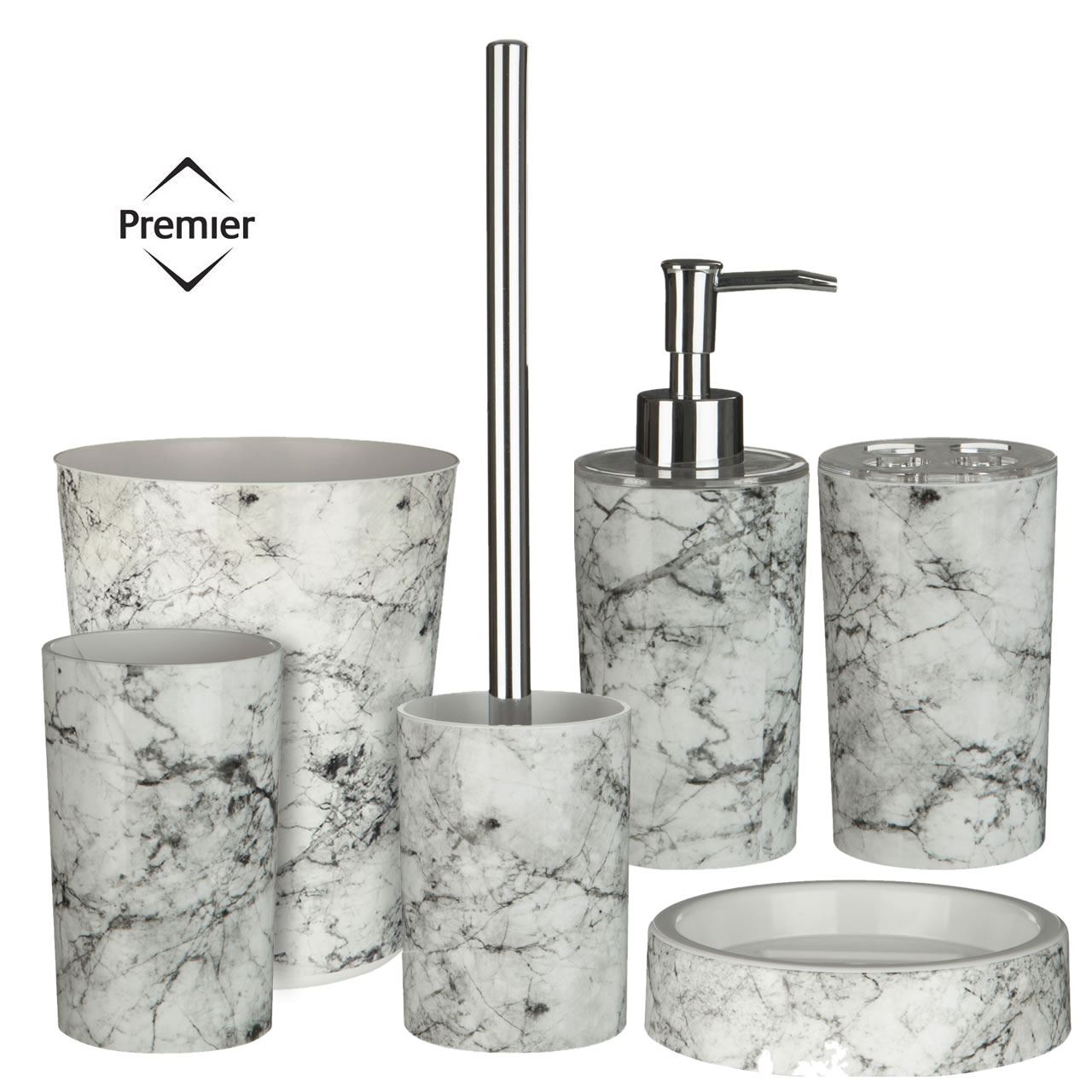 6Pc Rome Bathroom Set - Toilet Brush Tumbler Soap Dispenser Cotton ...