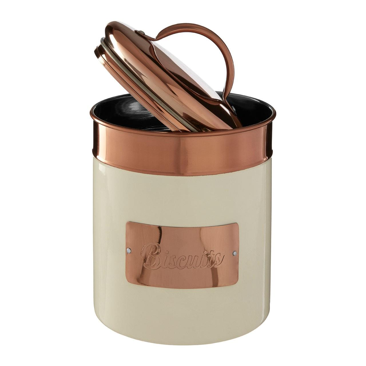 Prescott-Cream-Copper-Bread-Bin-Biscuit-Sugar-Coffee-Canister-Utensil-Holder thumbnail 10