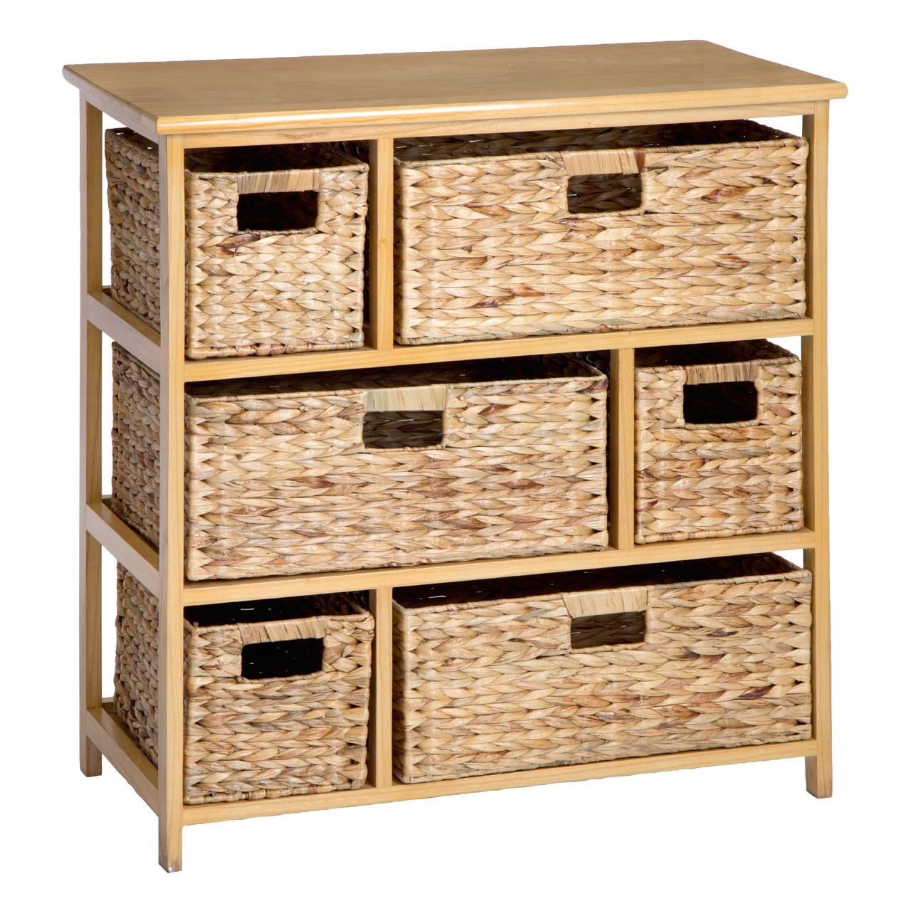 Delicieux 6 Basket Drawers Storage Unit Natural Water Hyacinth Chest Of Shelving