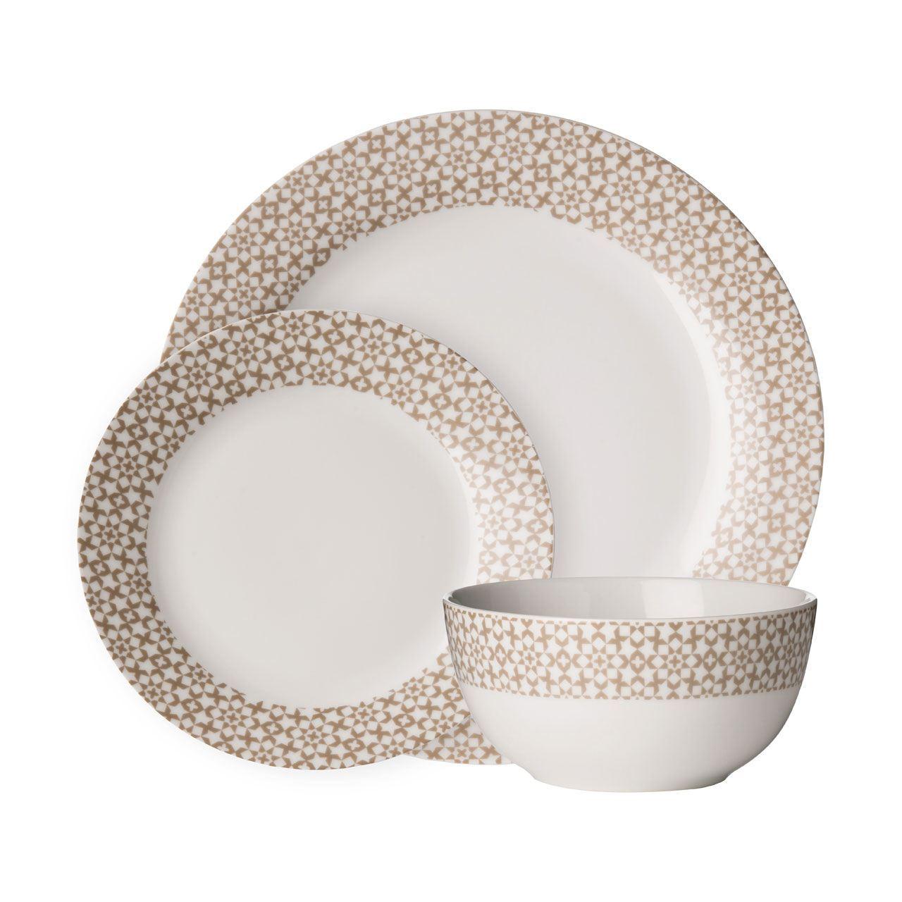 ... Picture 2 of 2  sc 1 st  eBay & Avie Casablanca Natural White 12 PCE Dinner Set Plate Bowl Porcelain ...