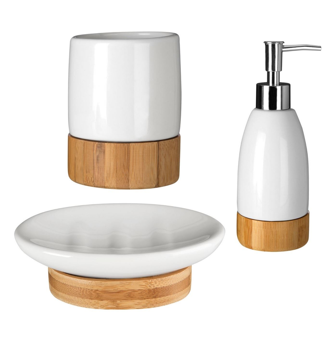 Earth White Dolomite Wooden Bamboo Base Bathroom Accessories Set ...