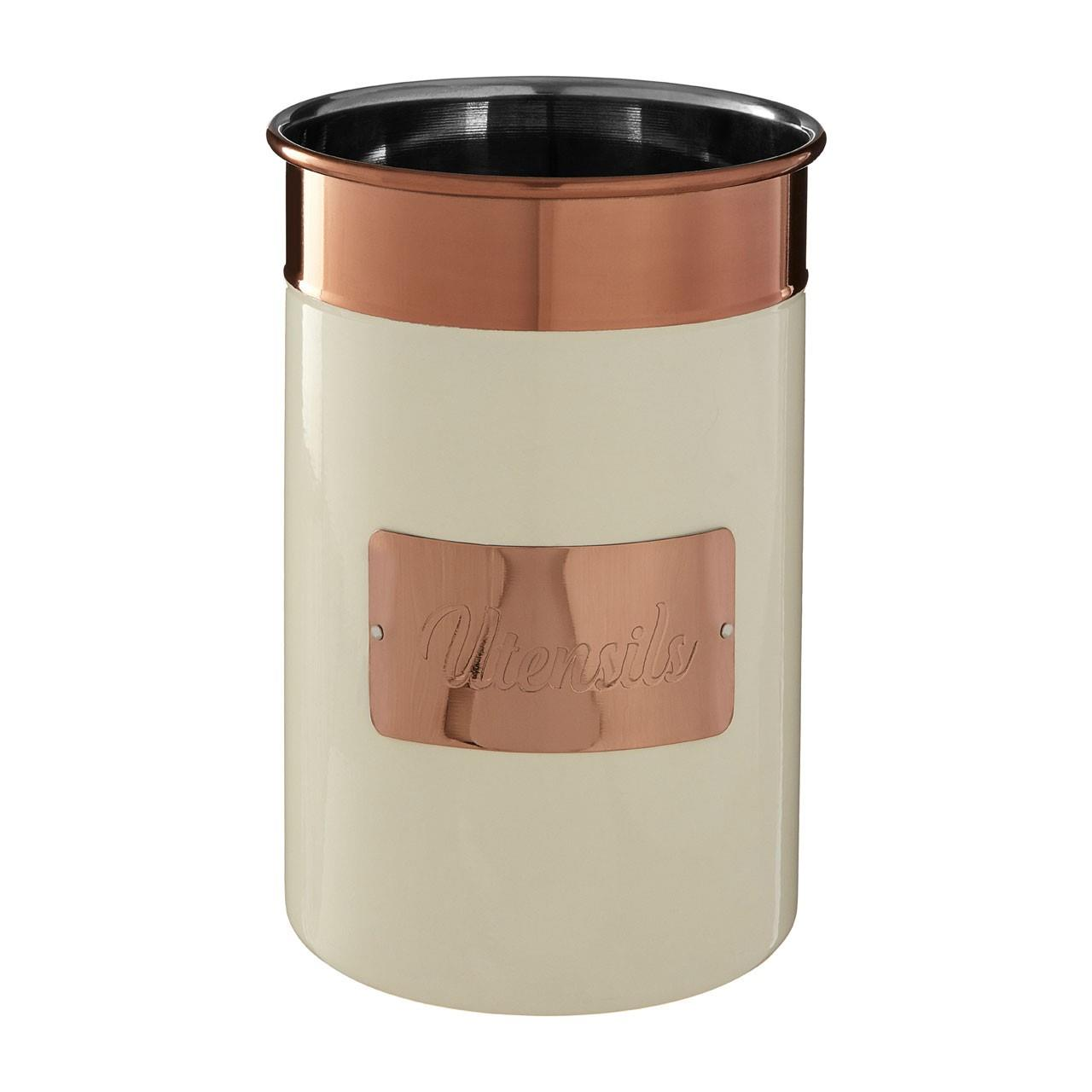 Prescott-Cream-Copper-Bread-Bin-Biscuit-Sugar-Coffee-Canister-Utensil-Holder thumbnail 3