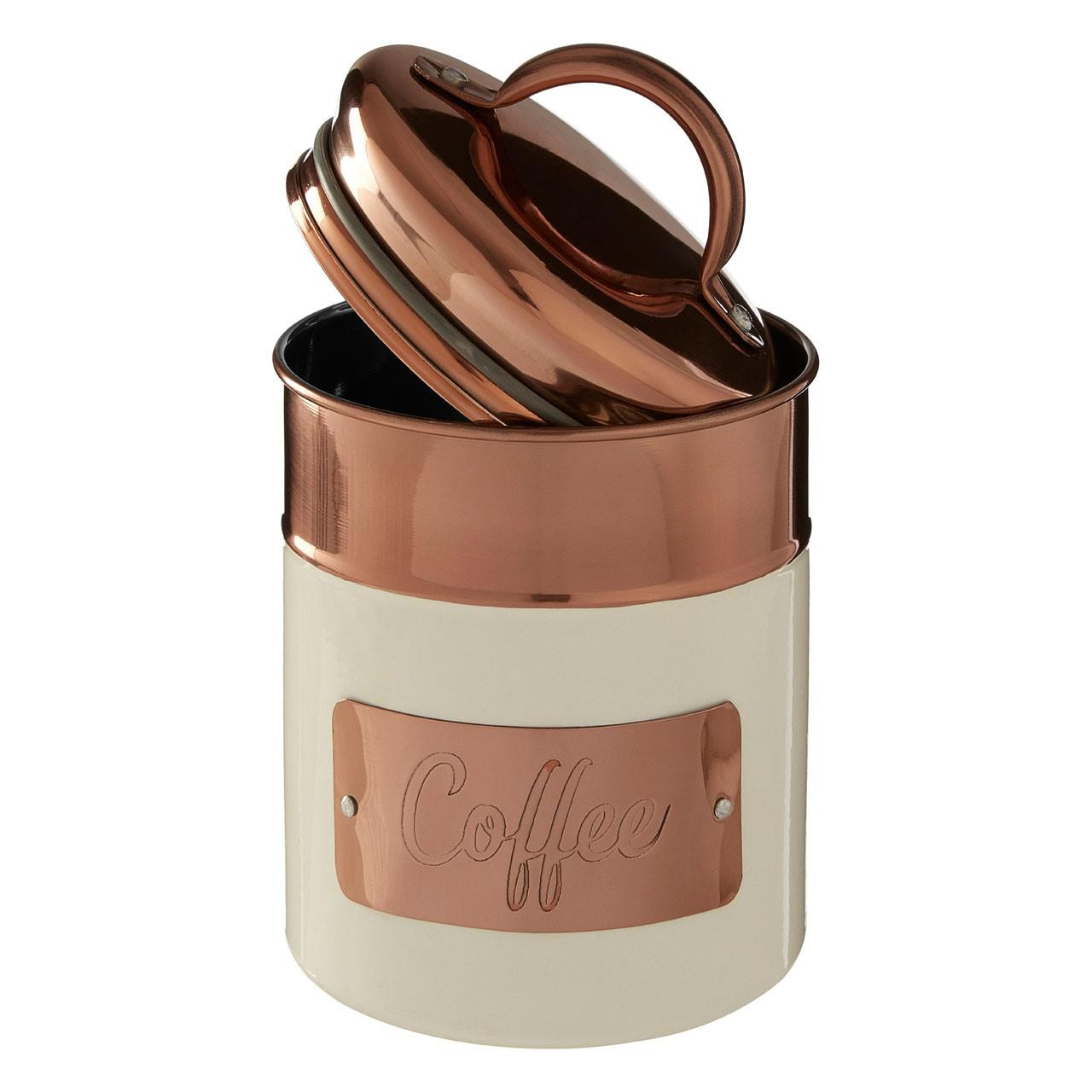 Prescott-Cream-Copper-Bread-Bin-Biscuit-Sugar-Coffee-Canister-Utensil-Holder thumbnail 16