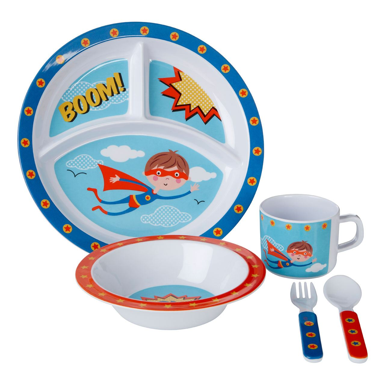 ... Picture 2 of 2  sc 1 st  eBay & 5pc Kids Boys Girls Childrens Plate Bowl Cup Spoon Fork Lunch Dinner ...