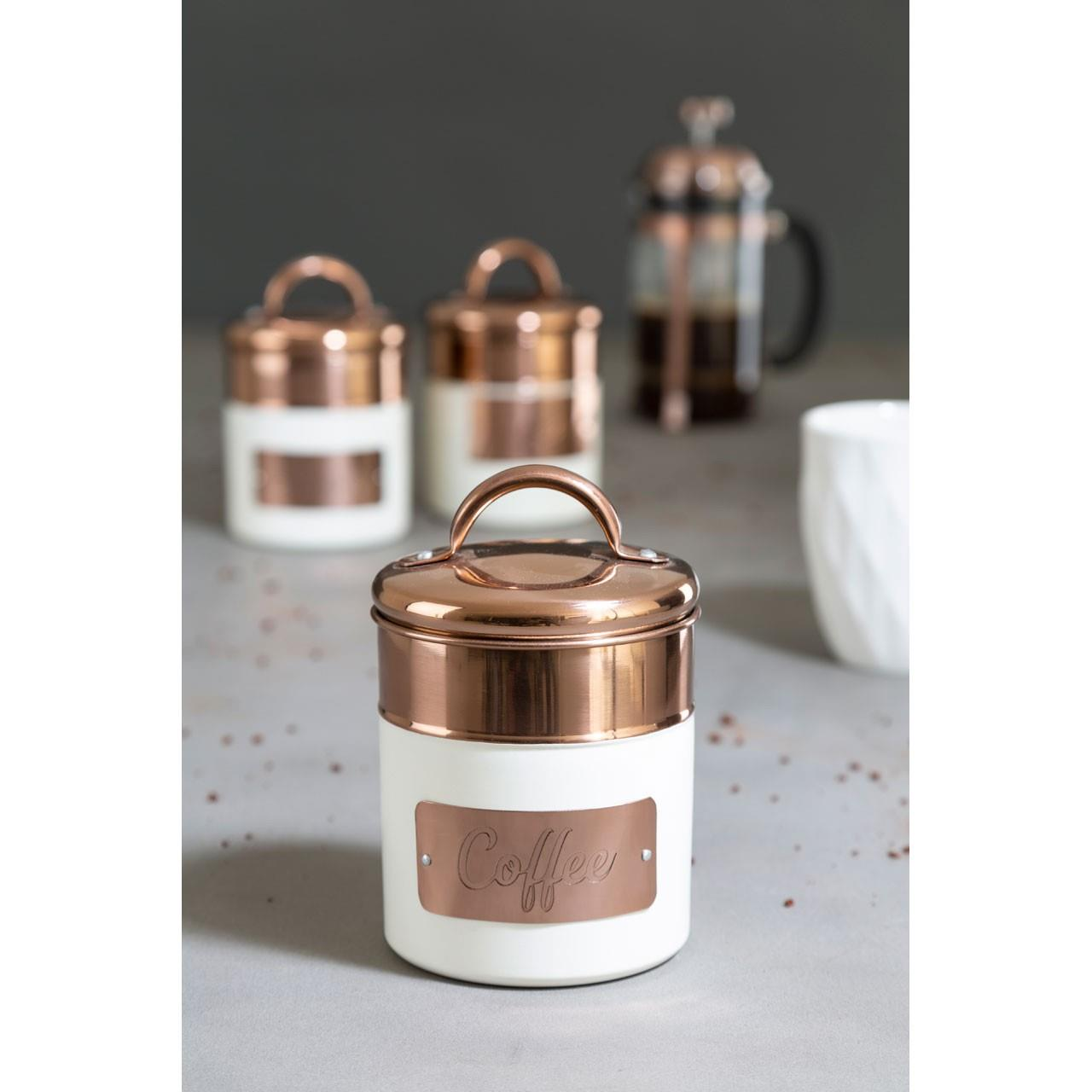 Prescott-Cream-Copper-Bread-Bin-Biscuit-Sugar-Coffee-Canister-Utensil-Holder thumbnail 17