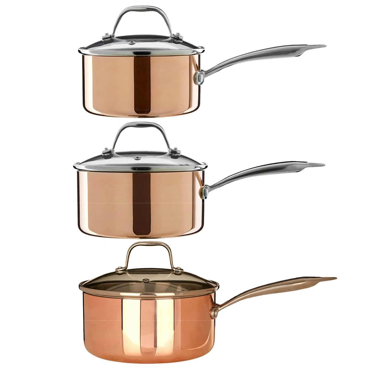 Minerva 3 Piece Saucepan Cookware Set Copper/Tri Ply Pots Pans Glass ...