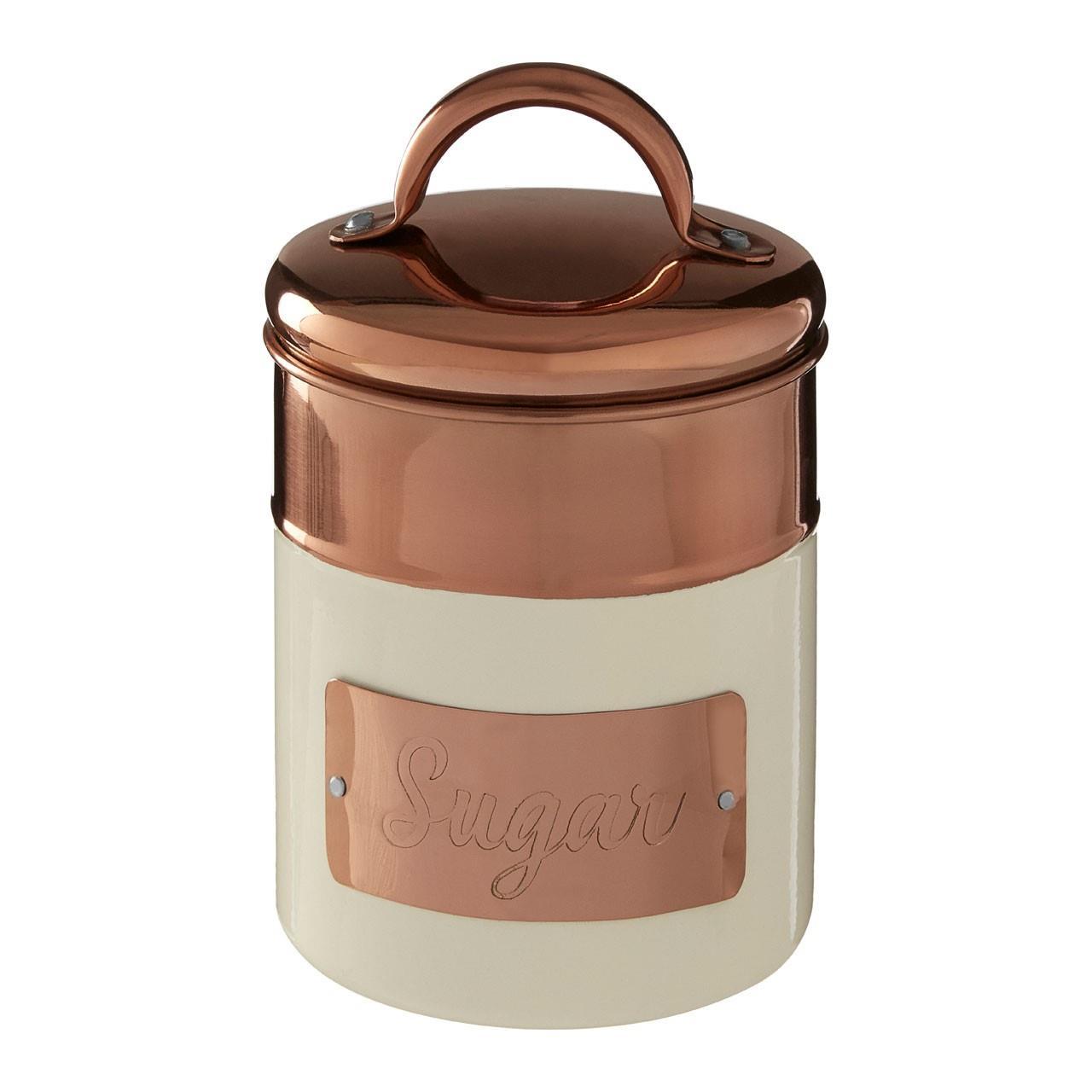 Prescott-Cream-Copper-Bread-Bin-Biscuit-Sugar-Coffee-Canister-Utensil-Holder thumbnail 12
