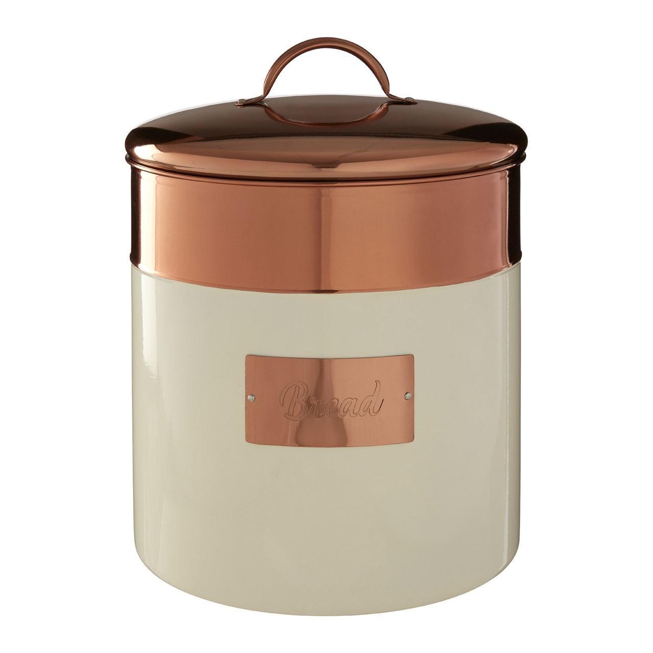 Prescott-Cream-Copper-Bread-Bin-Biscuit-Sugar-Coffee-Canister-Utensil-Holder thumbnail 6