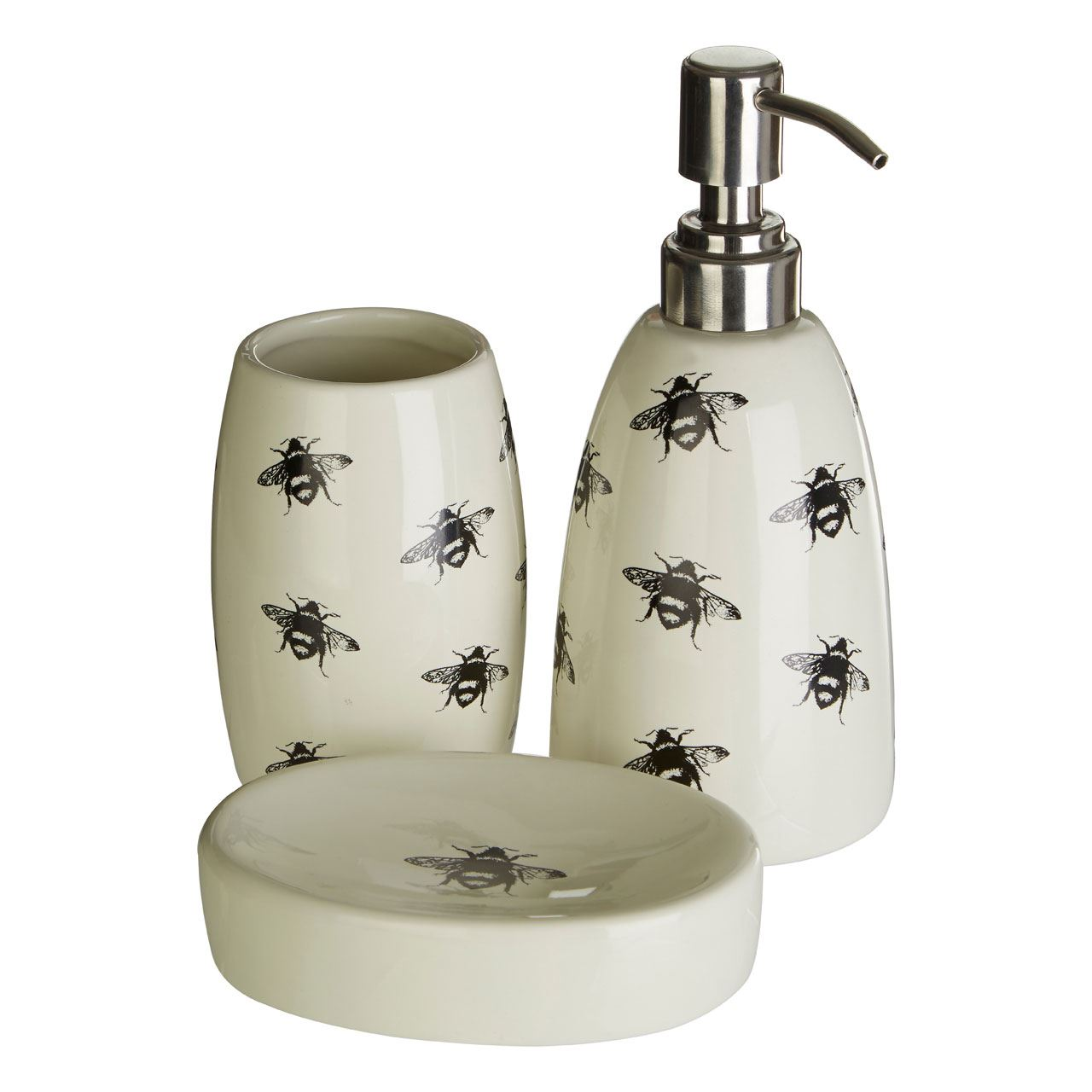 Queen Bee 3pc Bathroom Set Natural Dolomite Tumbler Soap Lotion