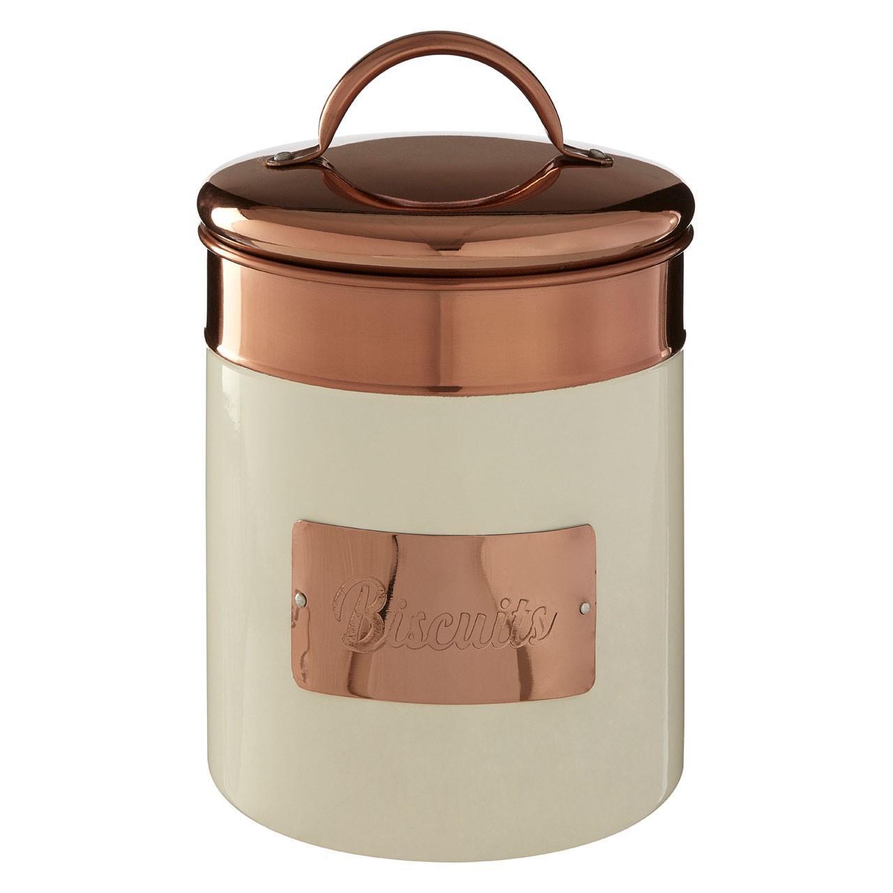 Prescott-Cream-Copper-Bread-Bin-Biscuit-Sugar-Coffee-Canister-Utensil-Holder thumbnail 9