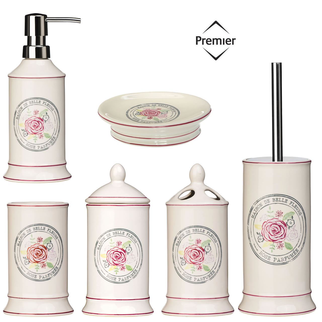 Bathroom Accessories Bath Dispenser Storage Set Ceramic Belle Cream ...