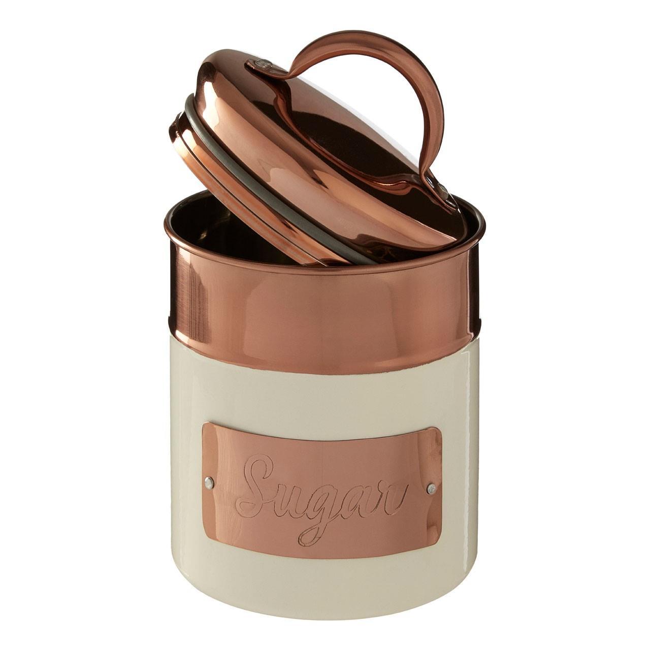 Prescott-Cream-Copper-Bread-Bin-Biscuit-Sugar-Coffee-Canister-Utensil-Holder thumbnail 13