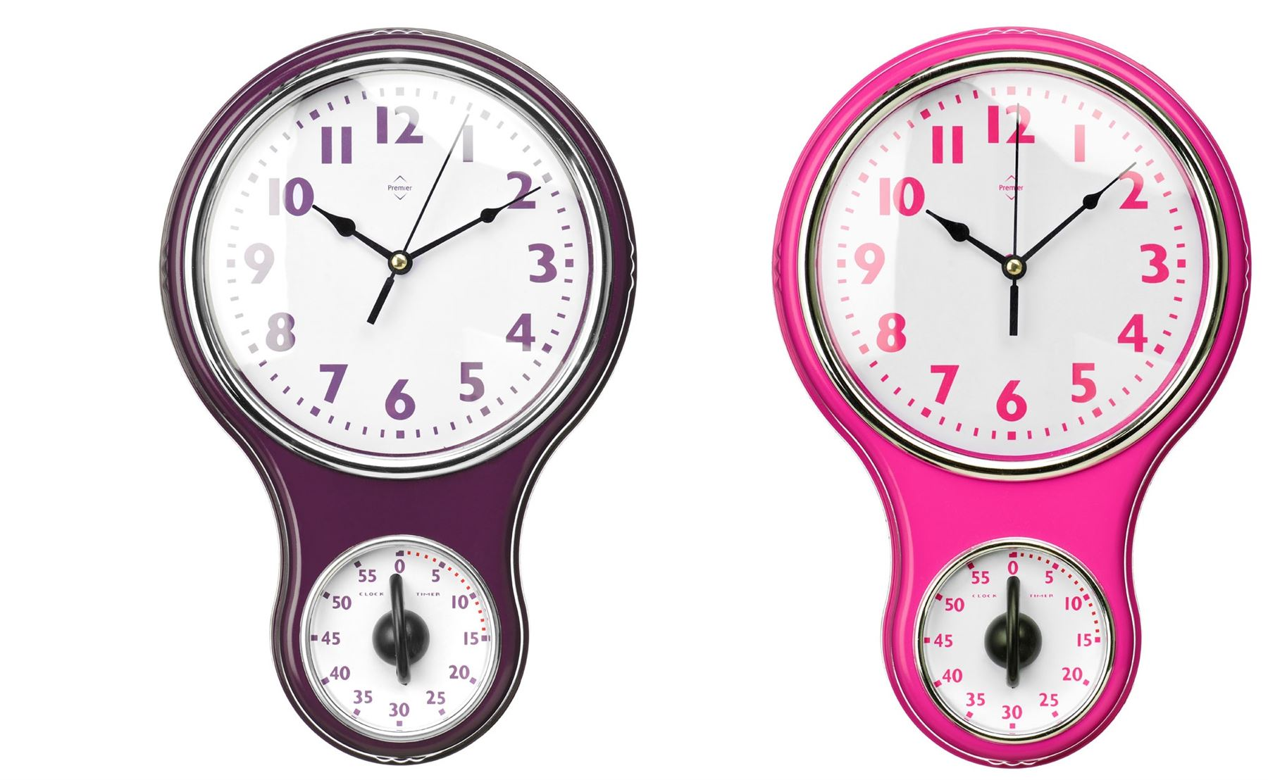 Kitchen Wall Clock Timer Made White Face PurpleHot Pink Frame