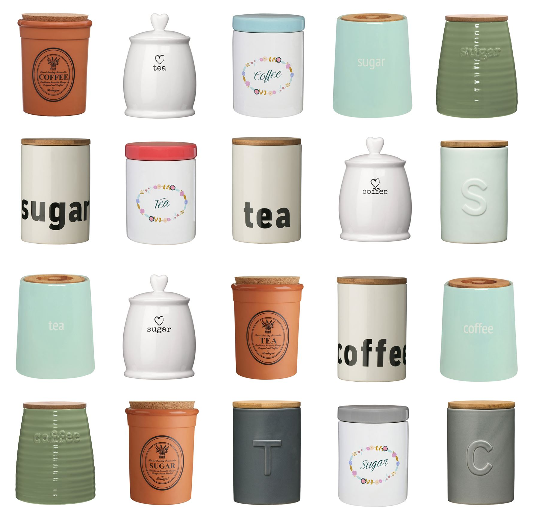 Details about Tea Coffee Sugar Canisters Pots Kitchen Storage Jars  /Ceramic/Bamboo/Mix Match