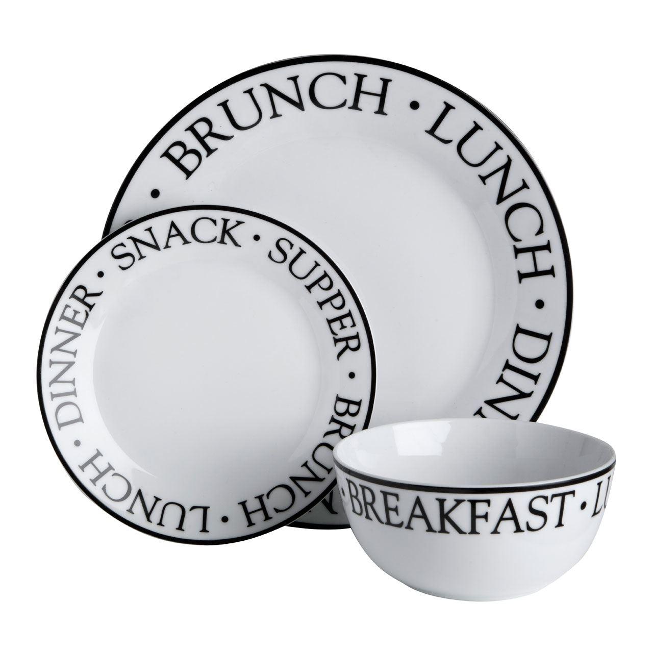 12pc-Porcelain-Dinner-Set-Dining-Tableware-Dinner-Side-  sc 1 st  eBay & 12pc Porcelain Dinner Set (Dining Tableware Dinner/Side Plates ...