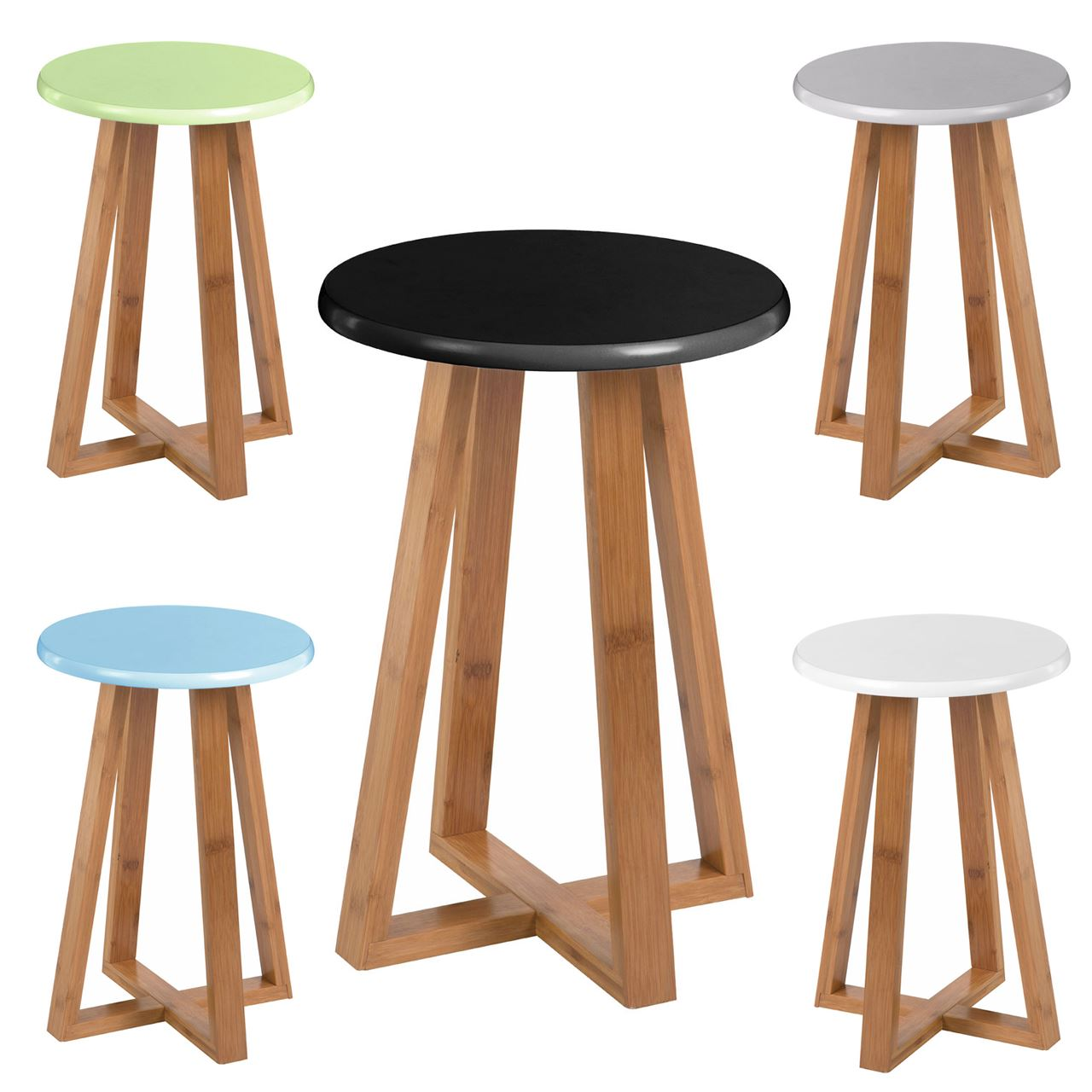 Viborg Round Stool / Bamboo Wood Base Legs / Breakfast Bar Rest ...