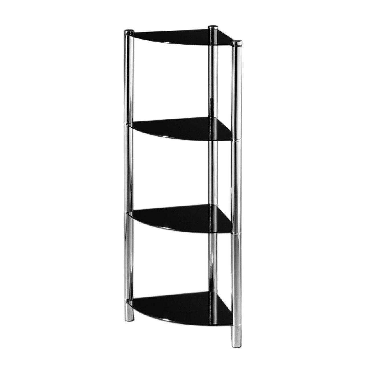 3-amp-4-Tier-Black-Glass-Corner-Side-Media-Rack-Shelving-Display-Unit