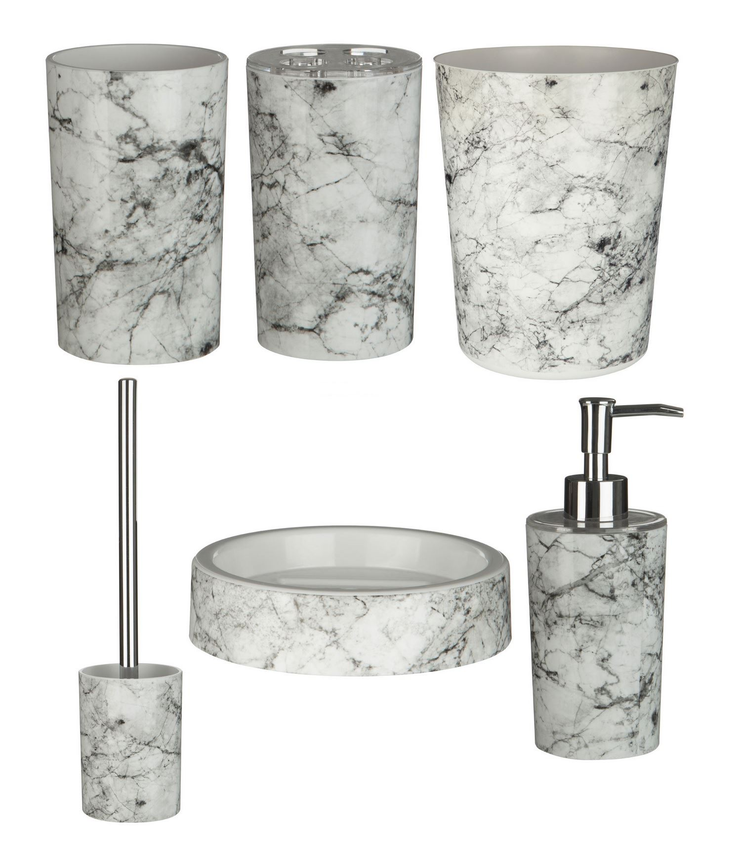 Magasin Salle De Bain Gembloux ~ Rome Bathroom Accessories Set 6pc Marble Effect Abs Plastic Ebay