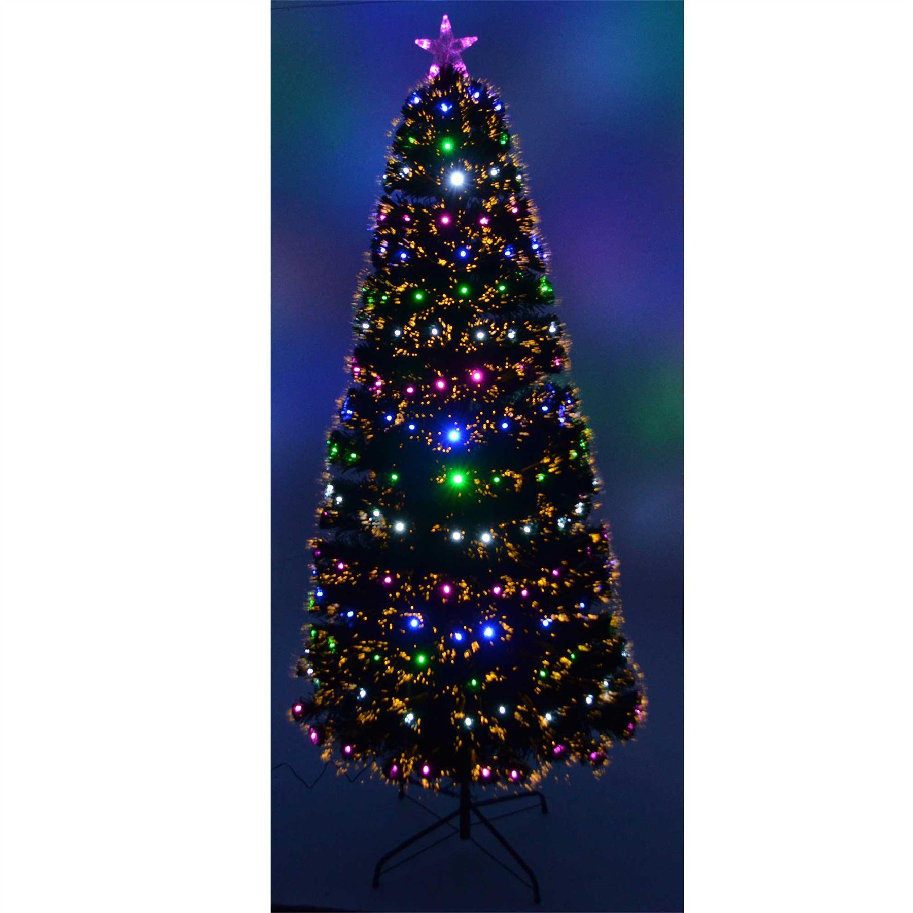 7ft Led Fibre Optic Christmas Tree Remote Controlled Pre Lit Xmas Home Decor