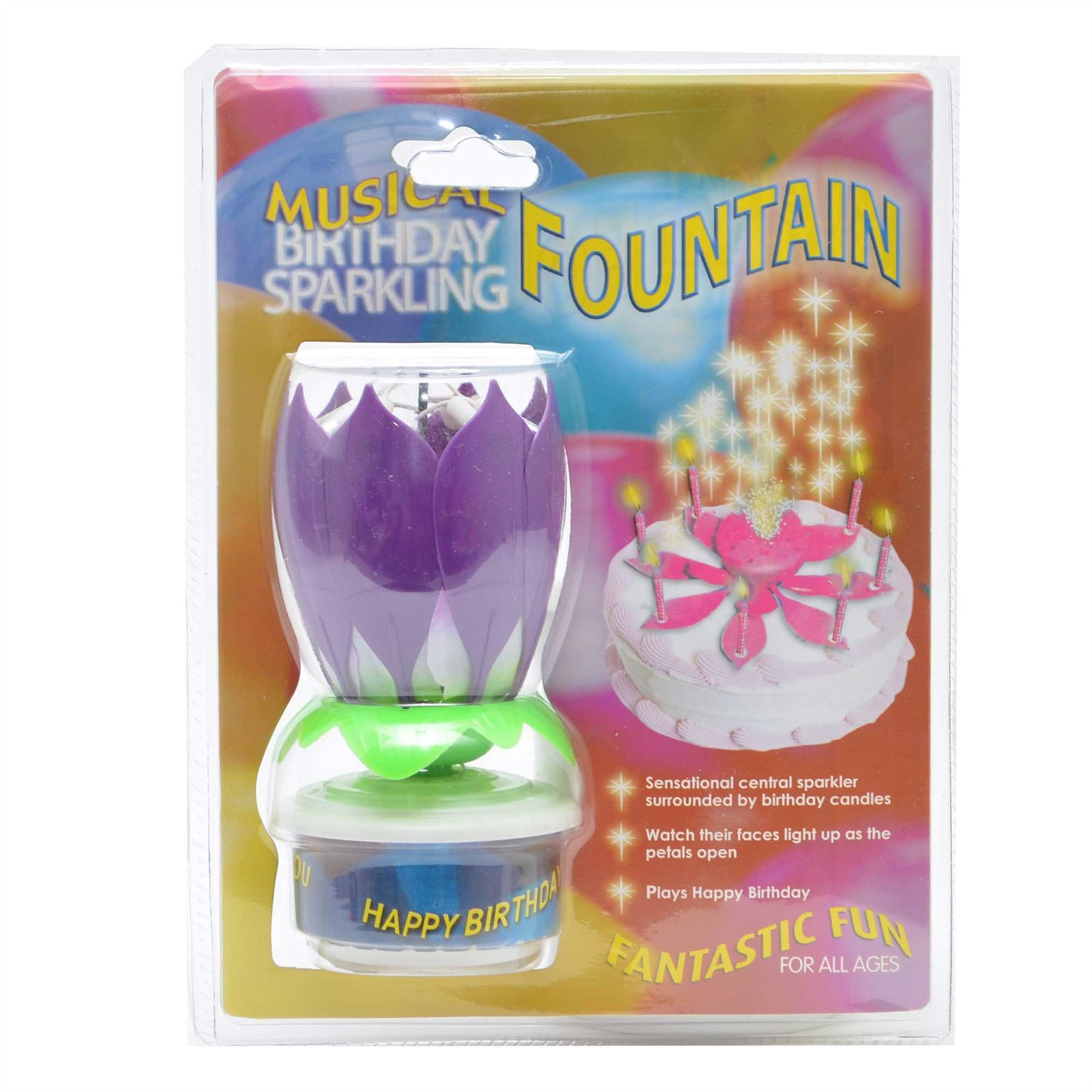 Rotating Happy Birthday Candle Lotus Flower Purple Party Cake