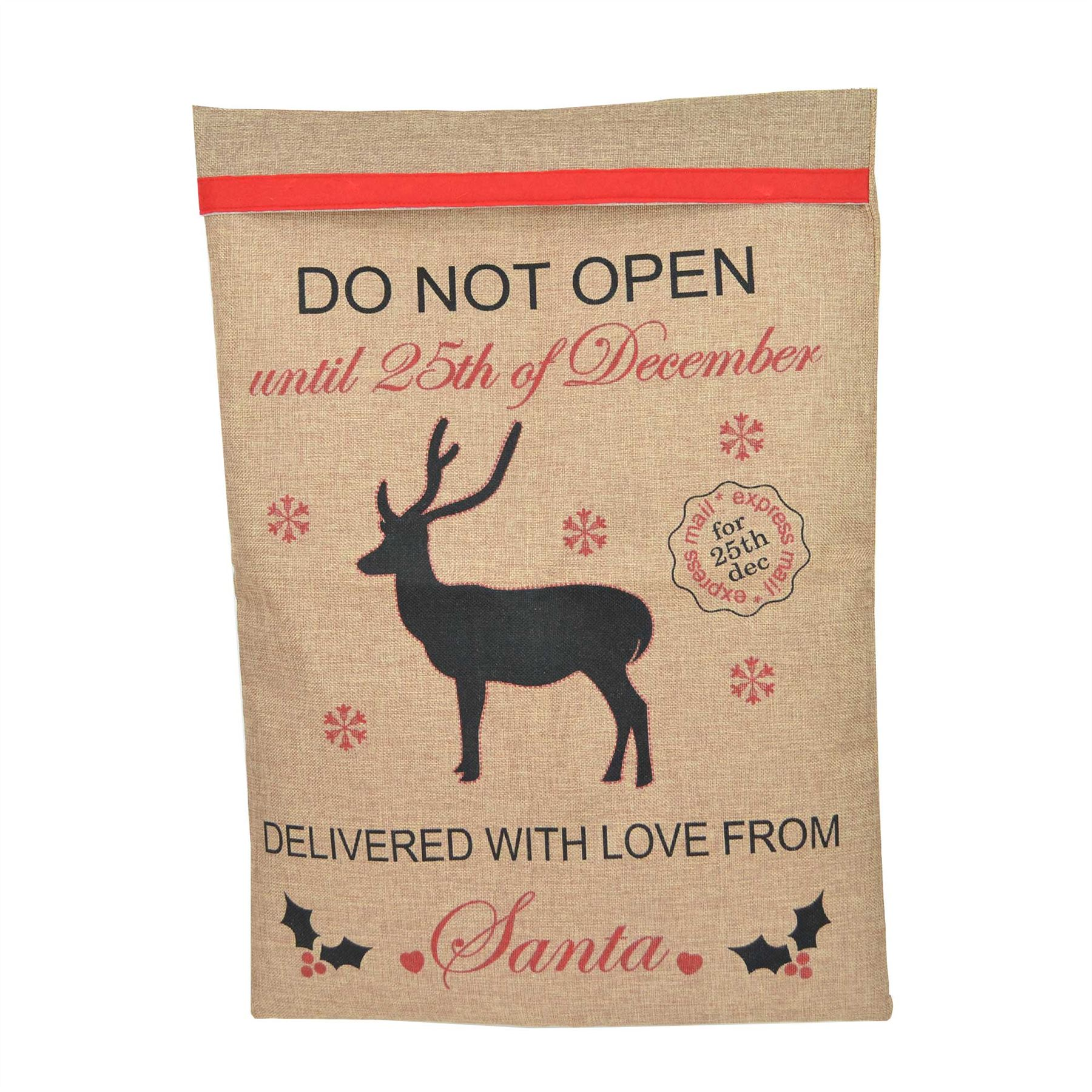 Celebrations Occasions Red Felt Hessian Christmas Santa Sack Xmas Stocking Gifts Bags Decorations Home Furniture Diy Pneumec In
