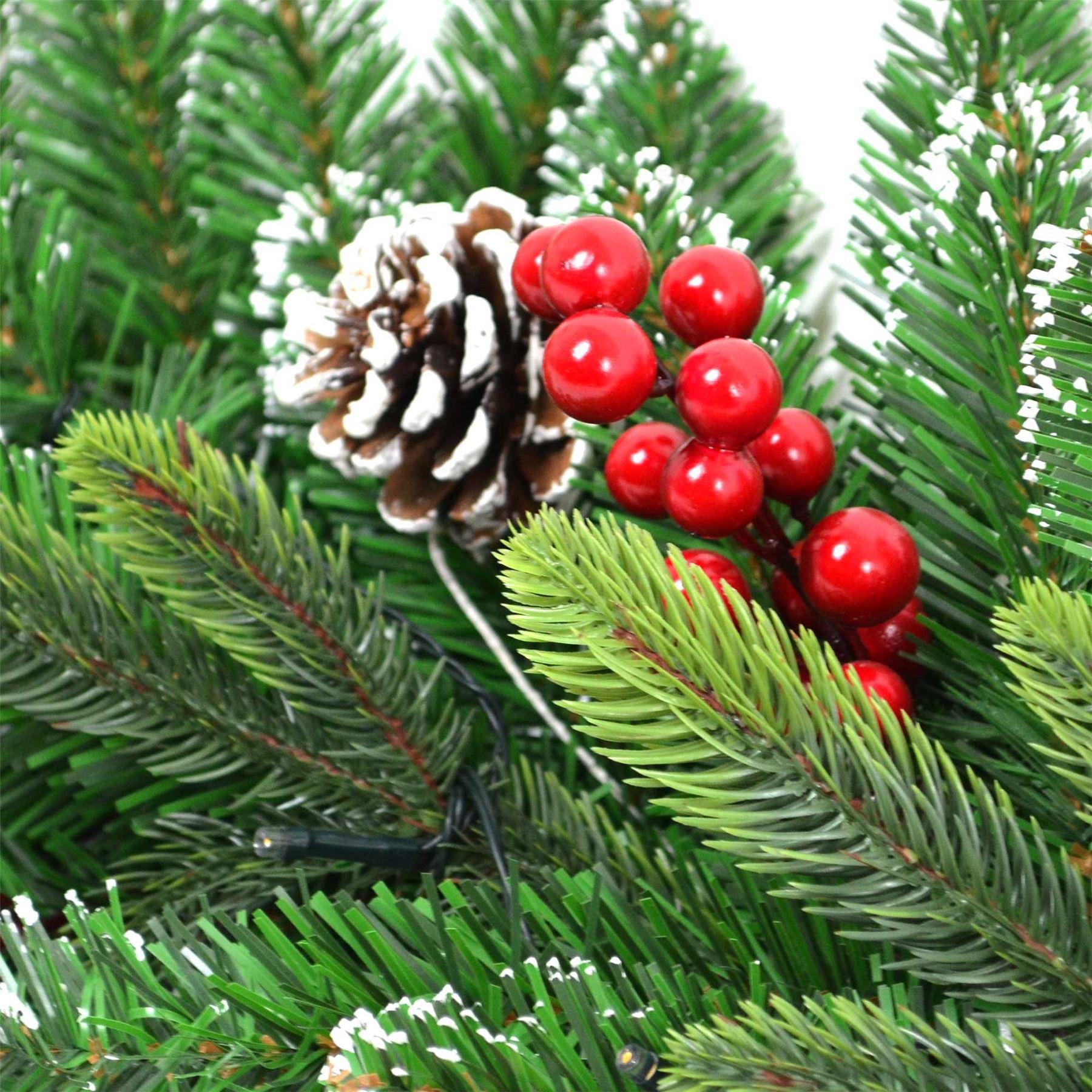 Pre-Illuminato-PRELIT-decorato-Corona-Ghirlanda-Decorazioni-Natalizie-Natale-Home-Decor-UK miniatura 3