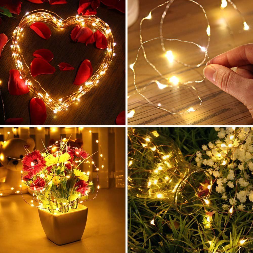 LED Fairy String Lights Battery Wire Wedding Halloween Decorations Warm White